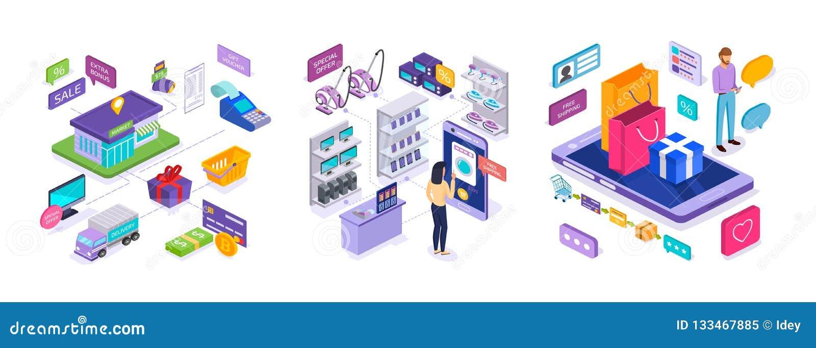 Ηλεκτρονικό εμπόριο Πωλήσεις στην αγορά, ψωνίζοντας on-line, ψηφιακό μάρκετινγκ, κινητή εφαρμογή