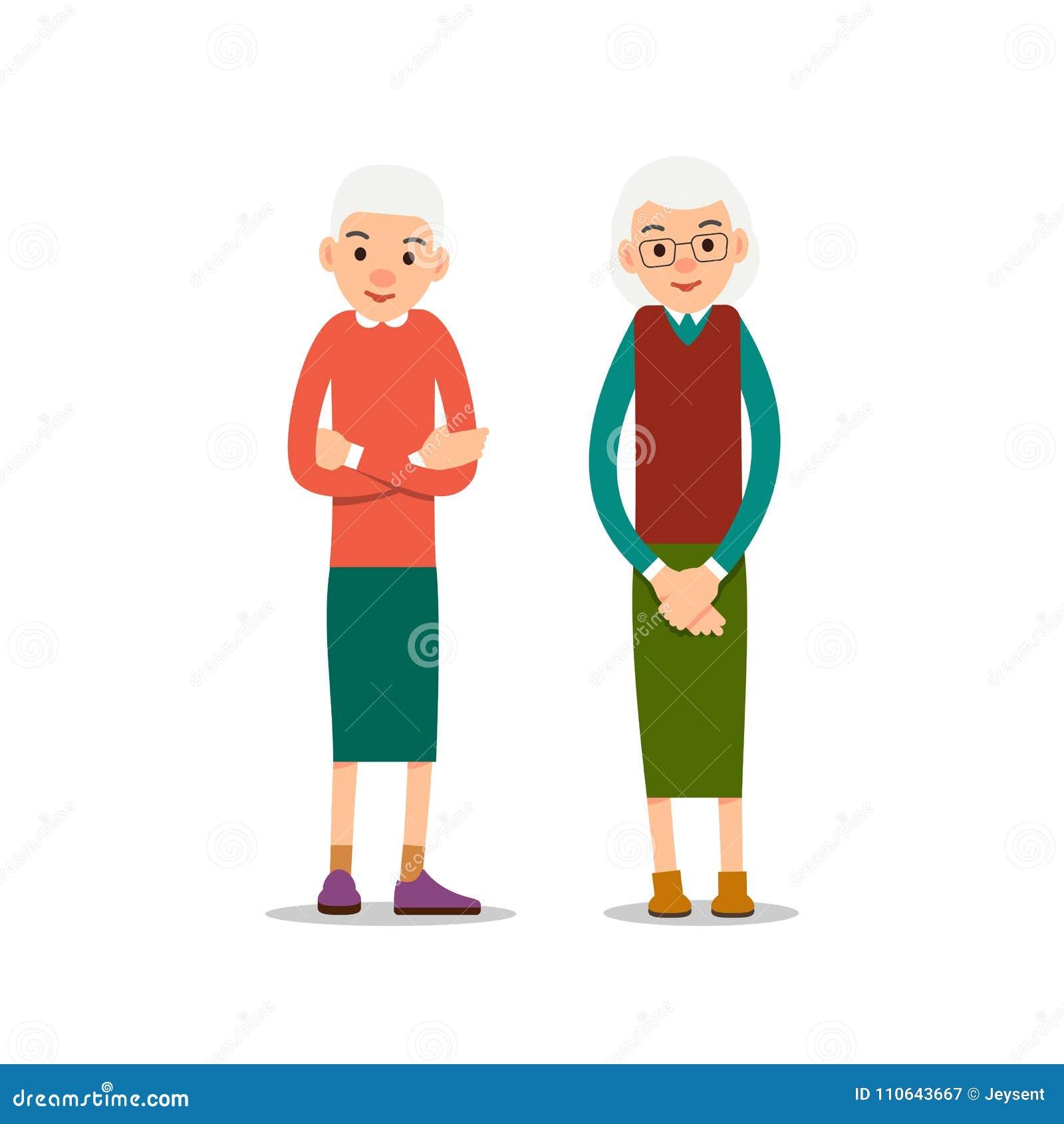 Ηλικιωμένη γυναίκα Δύο πρεσβύτερος, μια στάση ηλικιωμένων γυναικών με το σταυρό όπλων του
