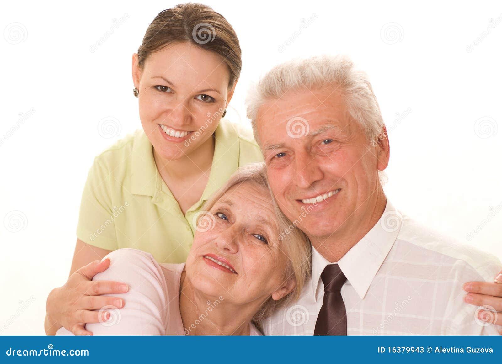 Ηλικιωμένο ζεύγος με μια κόρη