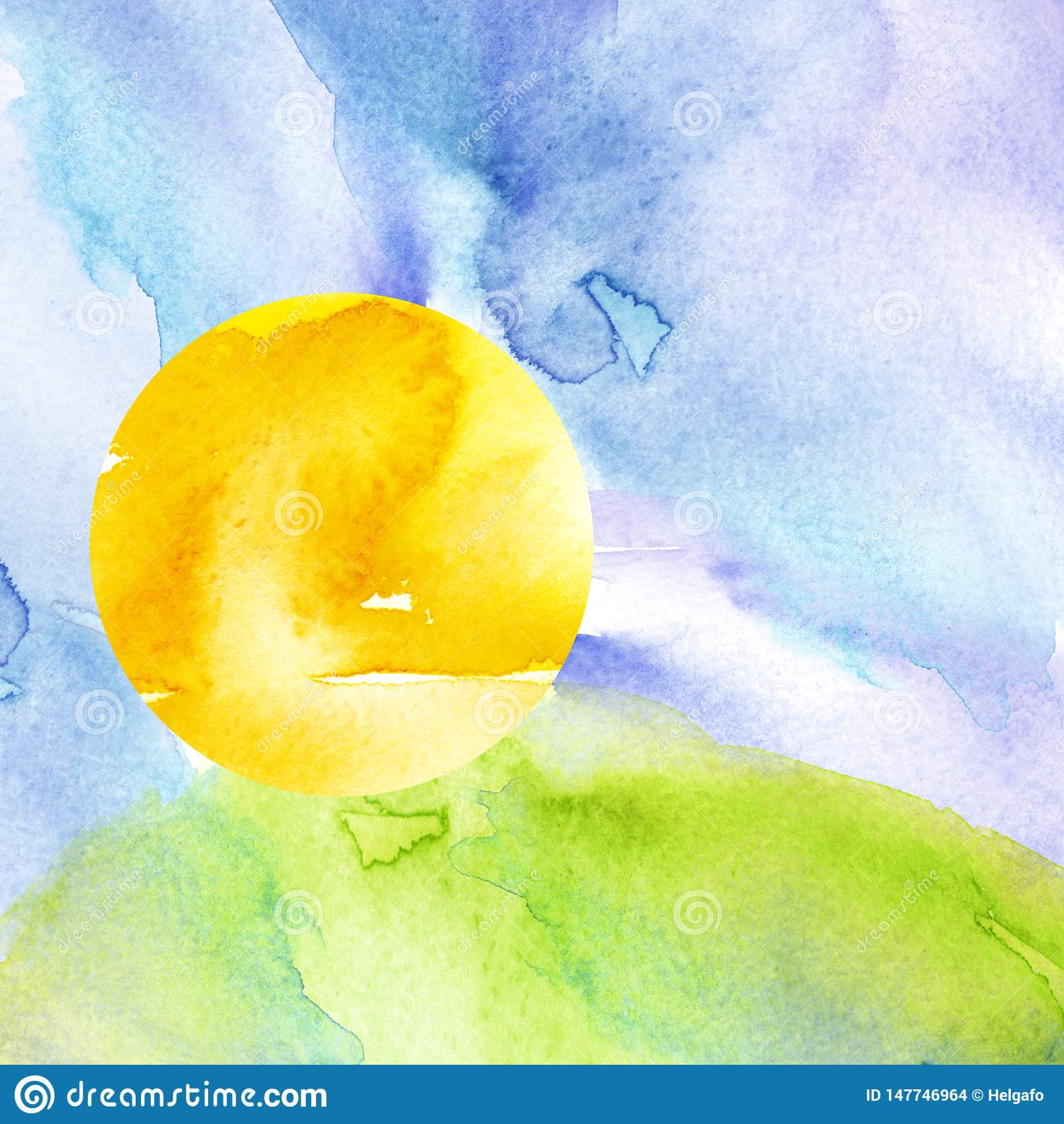 Ηλιοβασίλεμα, αυγή, κίτρινος, πορτοκαλής ήλιος, μπλε ουρανός με τα σύννεφα Πράσινη χλόη, λόφος