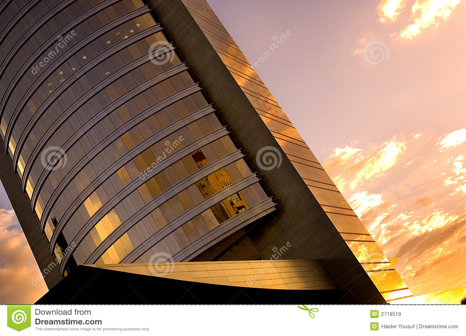 ηλιοβασίλεμα γραφείων οικοδόμησης