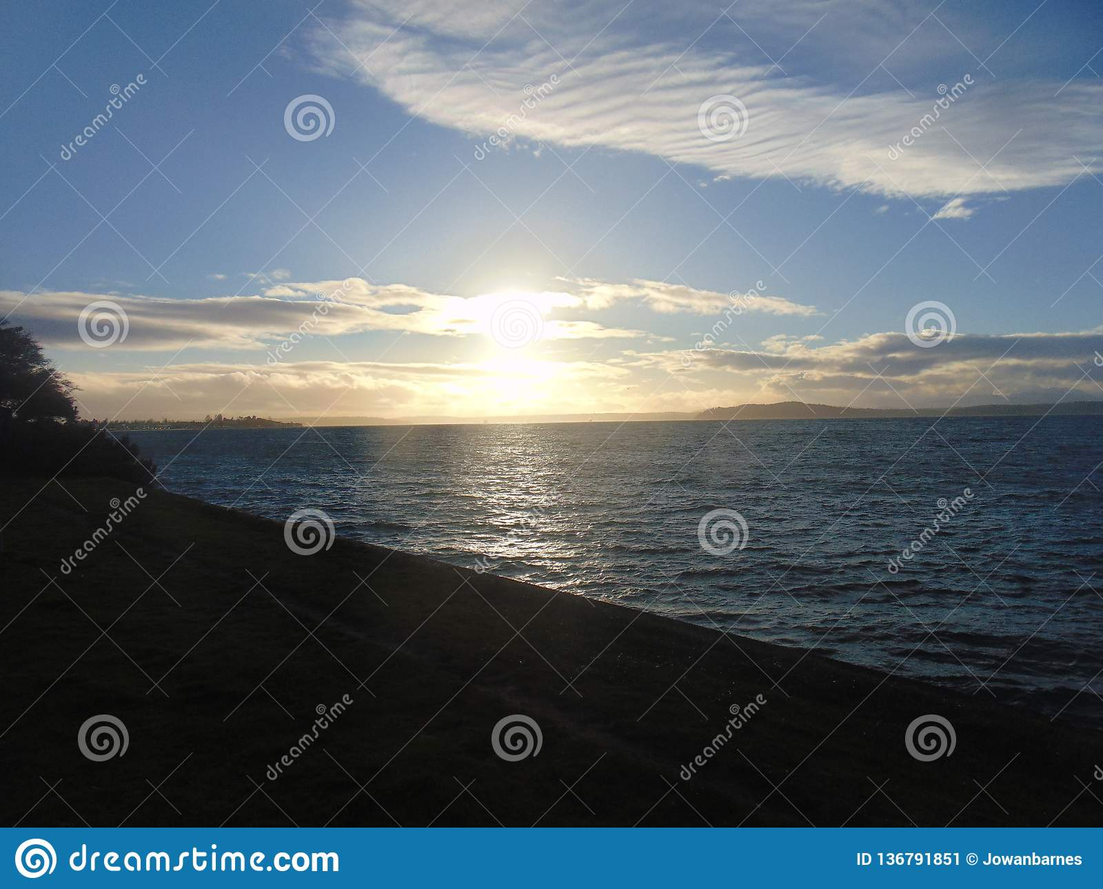 Ηλιοβασίλεμα πέρα από τον κόλπο του Elliott