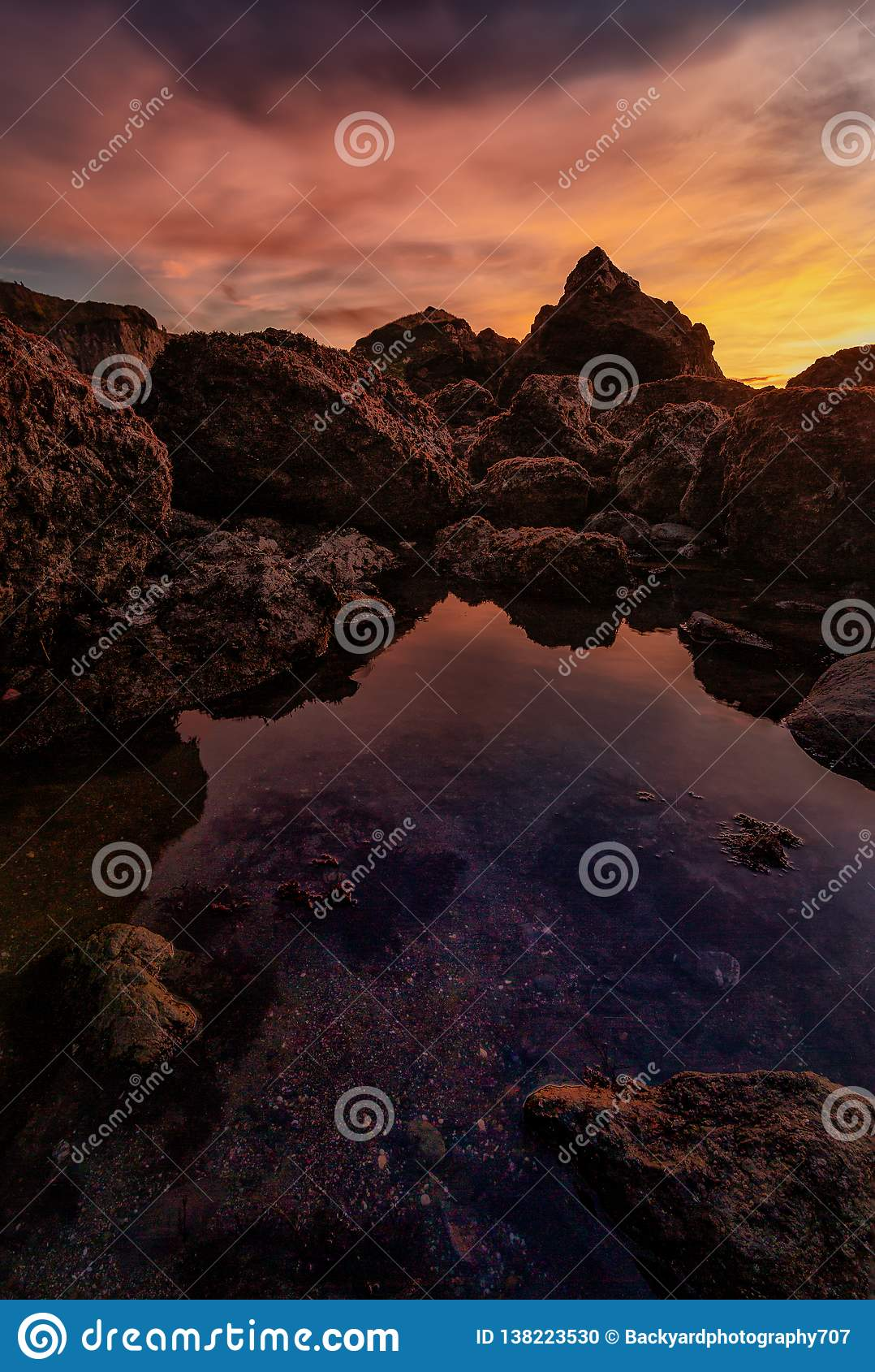 Ηλιοβασίλεμα σε μια δύσκολη παραλία Pacific Northwest