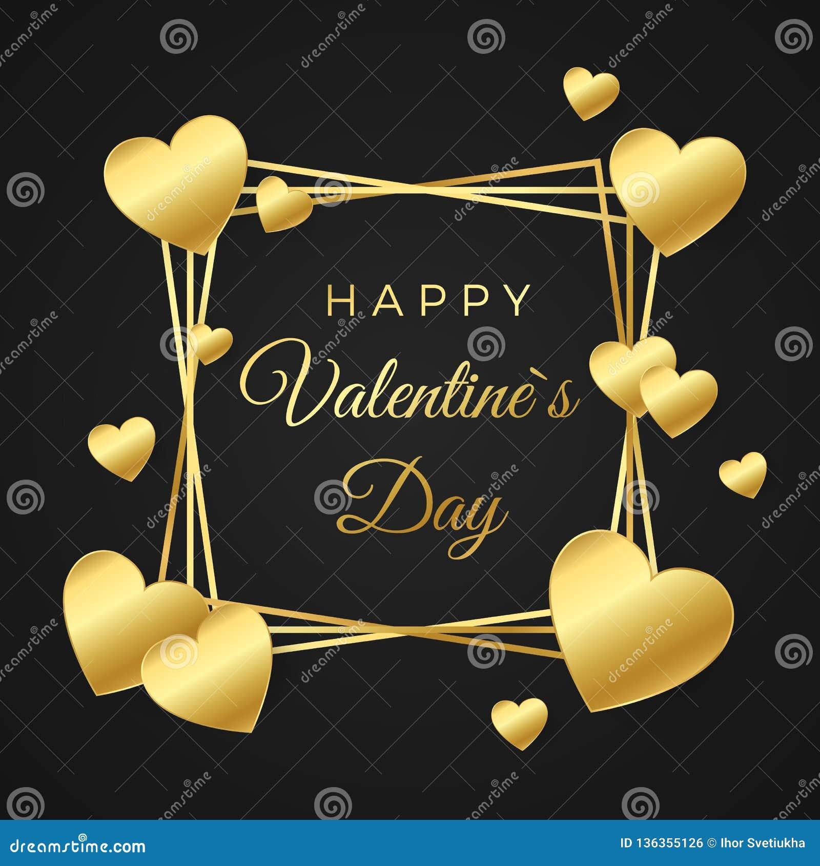 ημέρα καρτών που χαιρετά τους ευτυχείς βαλεντίνους Χρυσά καρδιά και πλαίσιο με το κείμενο στο άσπρο υπόβαθρο Έννοια για το έμβλημ