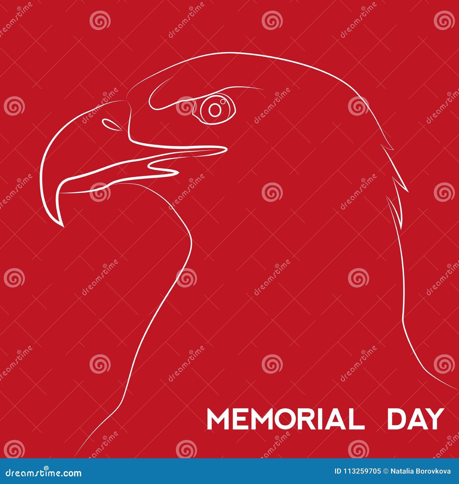 Ημέρα μνήμης στις Ηνωμένες Πολιτείες Διανυσματικό σχεδιάγραμμα για τις ευχετήριες κάρτες, εμβλήματα, αφίσες