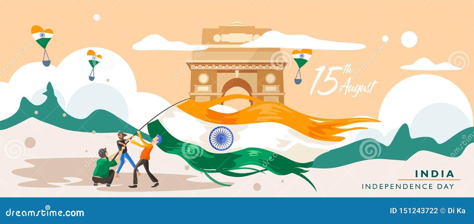 Ημέρα της ανεξαρτησίας της Ινδίας 15 Αυγούστου κτήριο κληρονομιάς πυλών της Ινδίας Πρότυπο ευχετήριων καρτών, εμβλημάτων και αφισ