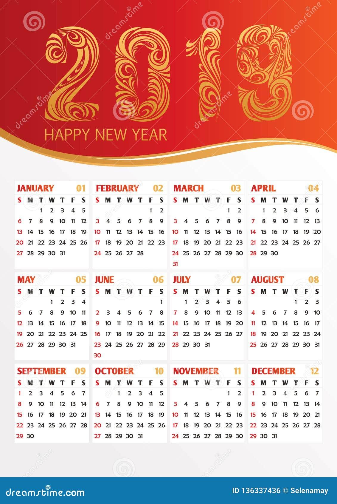 ημερολογιακή διανυσματική απεικόνιση γραφείων του 2019