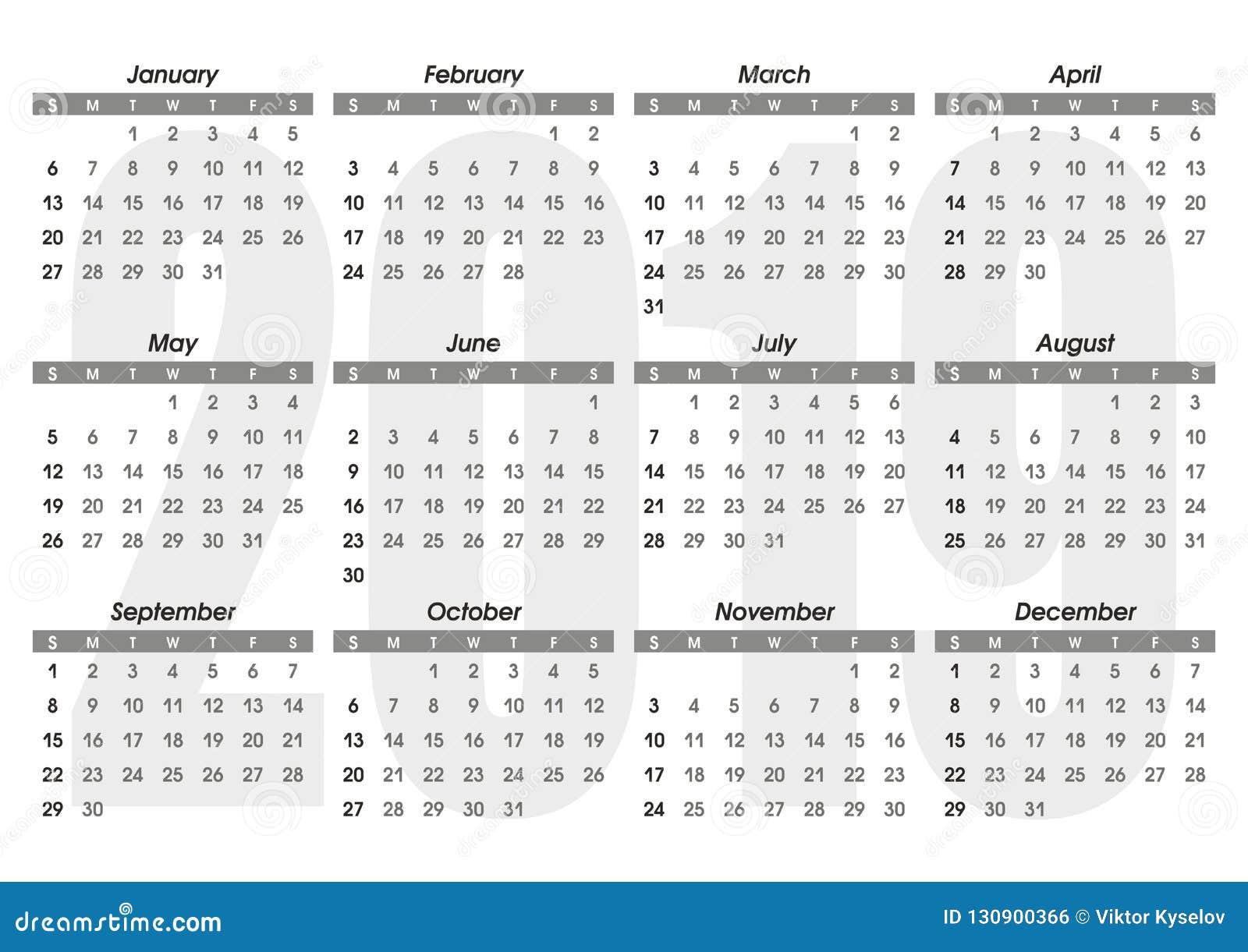 Ημερολογιακό 2019 πρότυπο