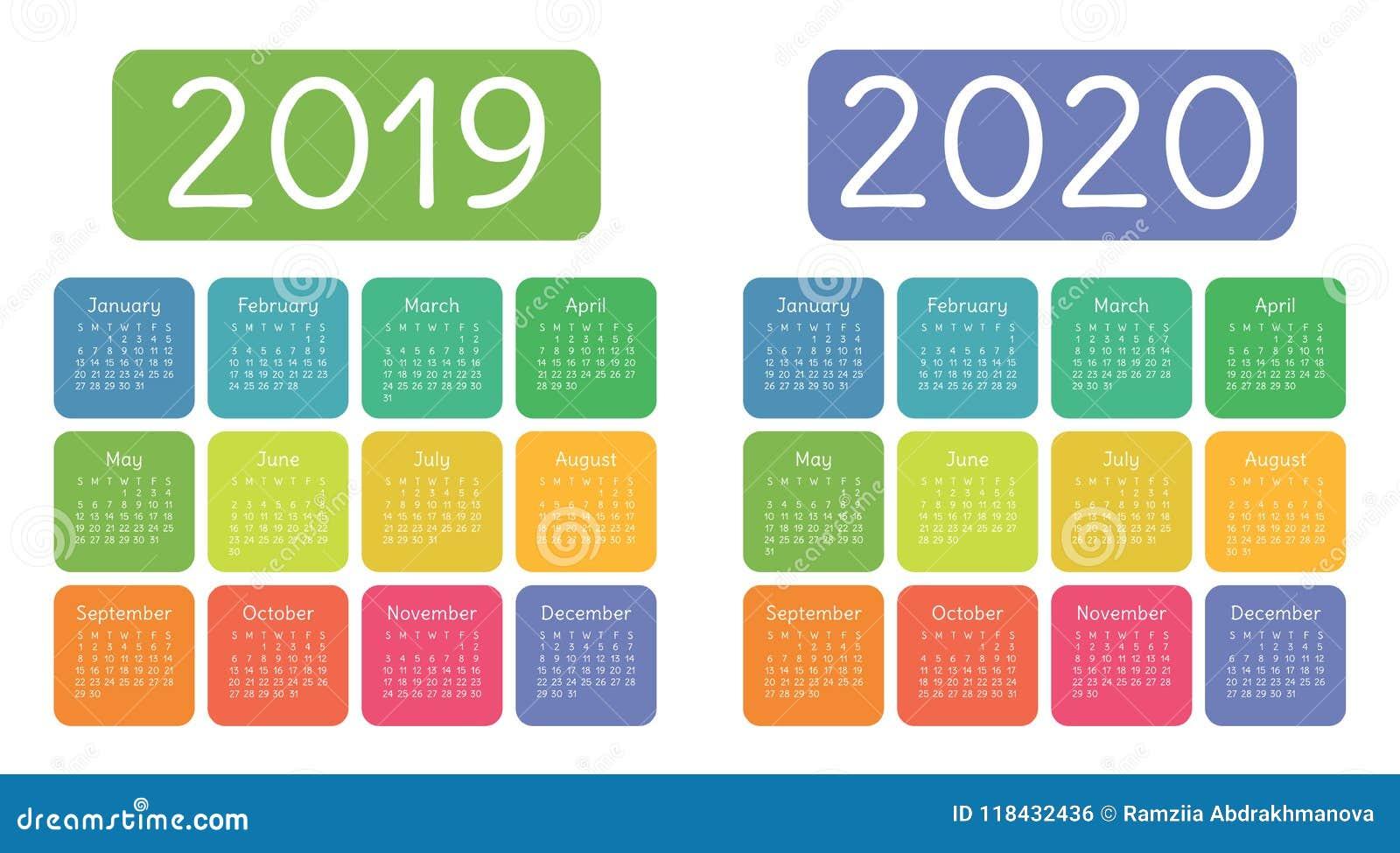 Ημερολόγιο 2019, 2020 έτη Ζωηρόχρωμο ημερολογιακό σύνολο Ενάρξεις εβδομάδας επάνω