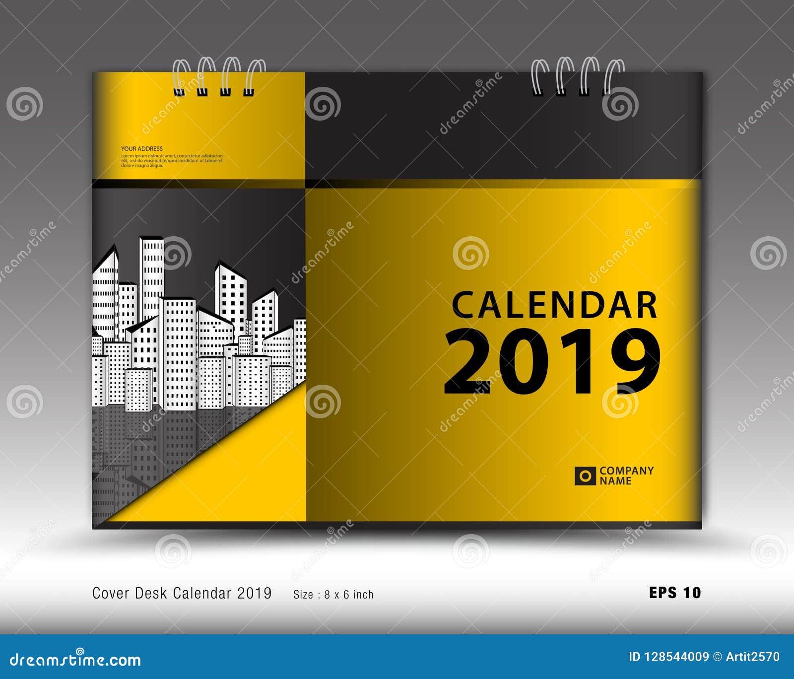 Ημερολόγιο γραφείων κάλυψης για το διάνυσμα προτύπων έτους του 2019, σχεδιάγραμμα κάλυψης βιβλίων, ετήσια έκθεση, αγγελίες περιοδ
