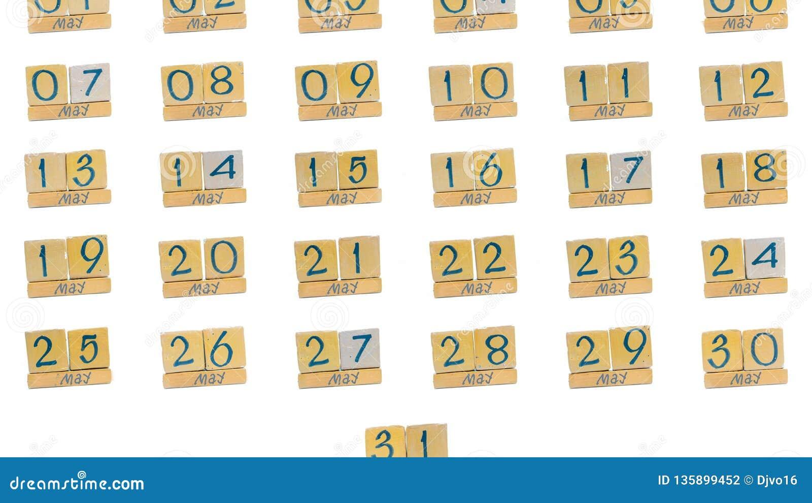 ημερολόγιο μπορέστε πλήρης μήνας μέρα με τη μέρα όλες οι ημερομηνίες του μήνα στη διαταγή Χειροποίητο ξύλινο ημερολόγιο κύβων