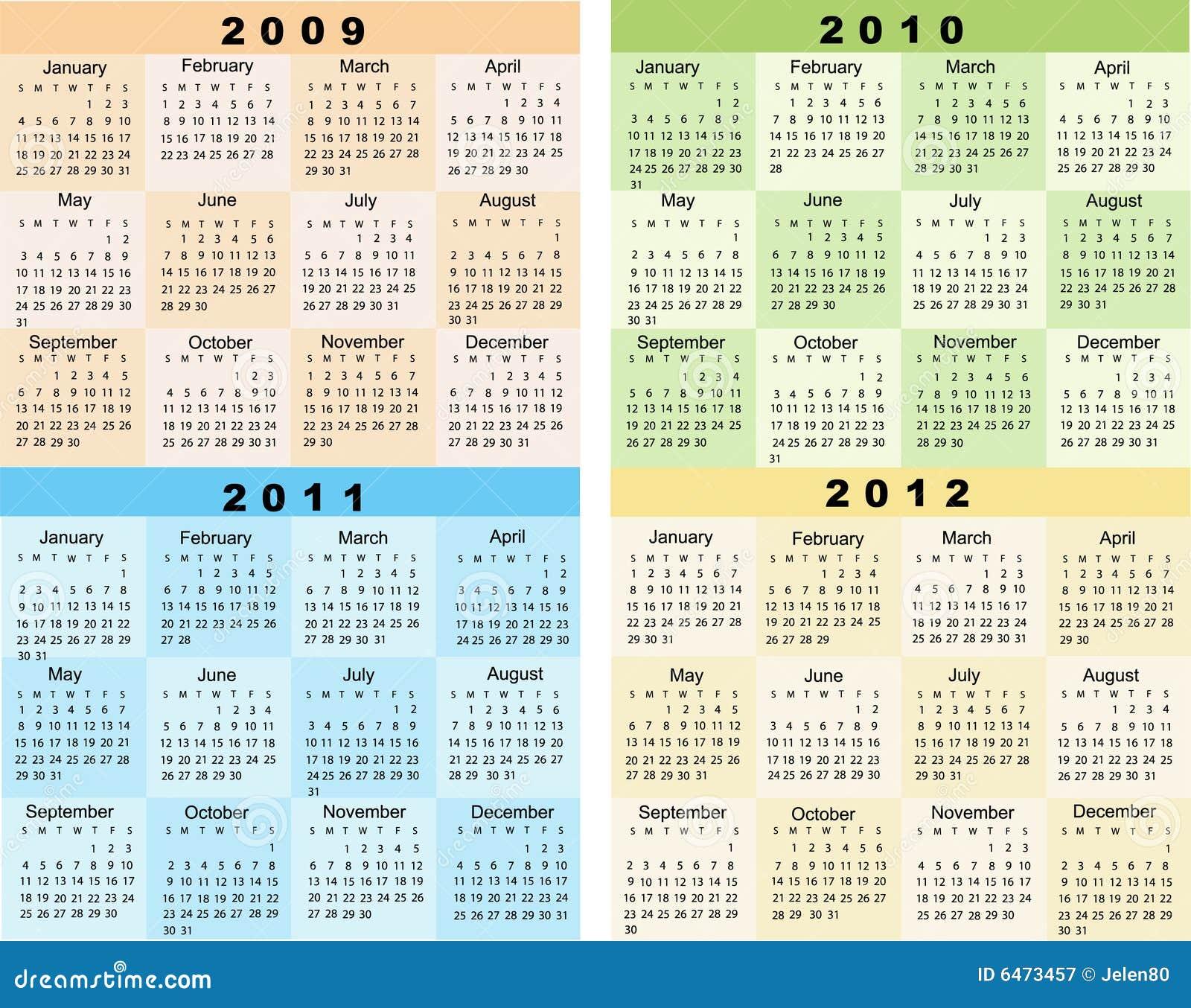 ημερολόγιο του 2012 του 2011 του 2010 του 2009