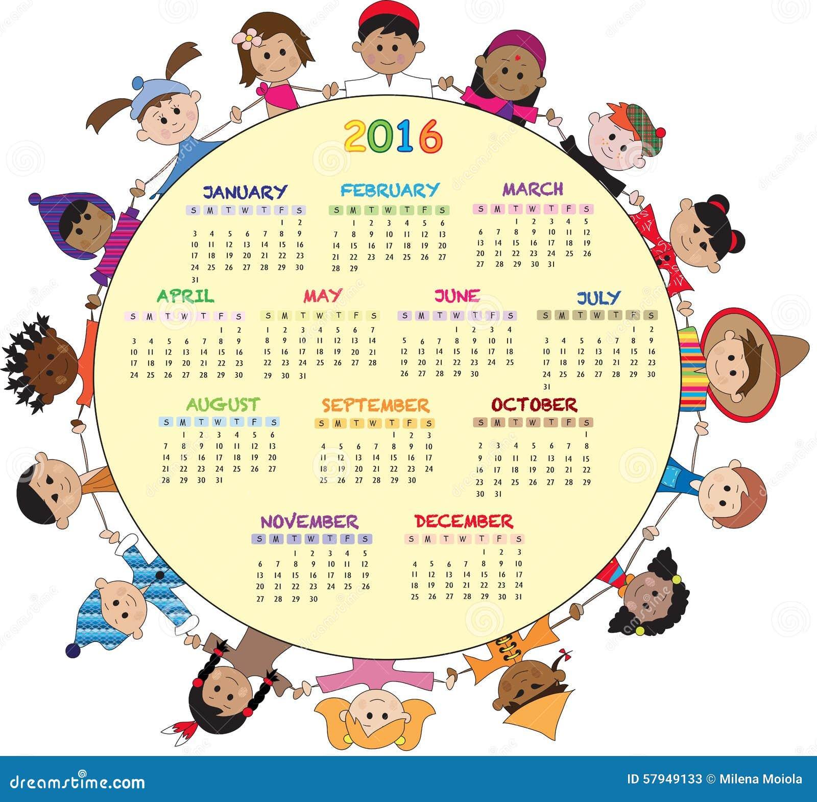 Ημερολόγιο 2016 Απεικόνιση αποθεμάτων ...