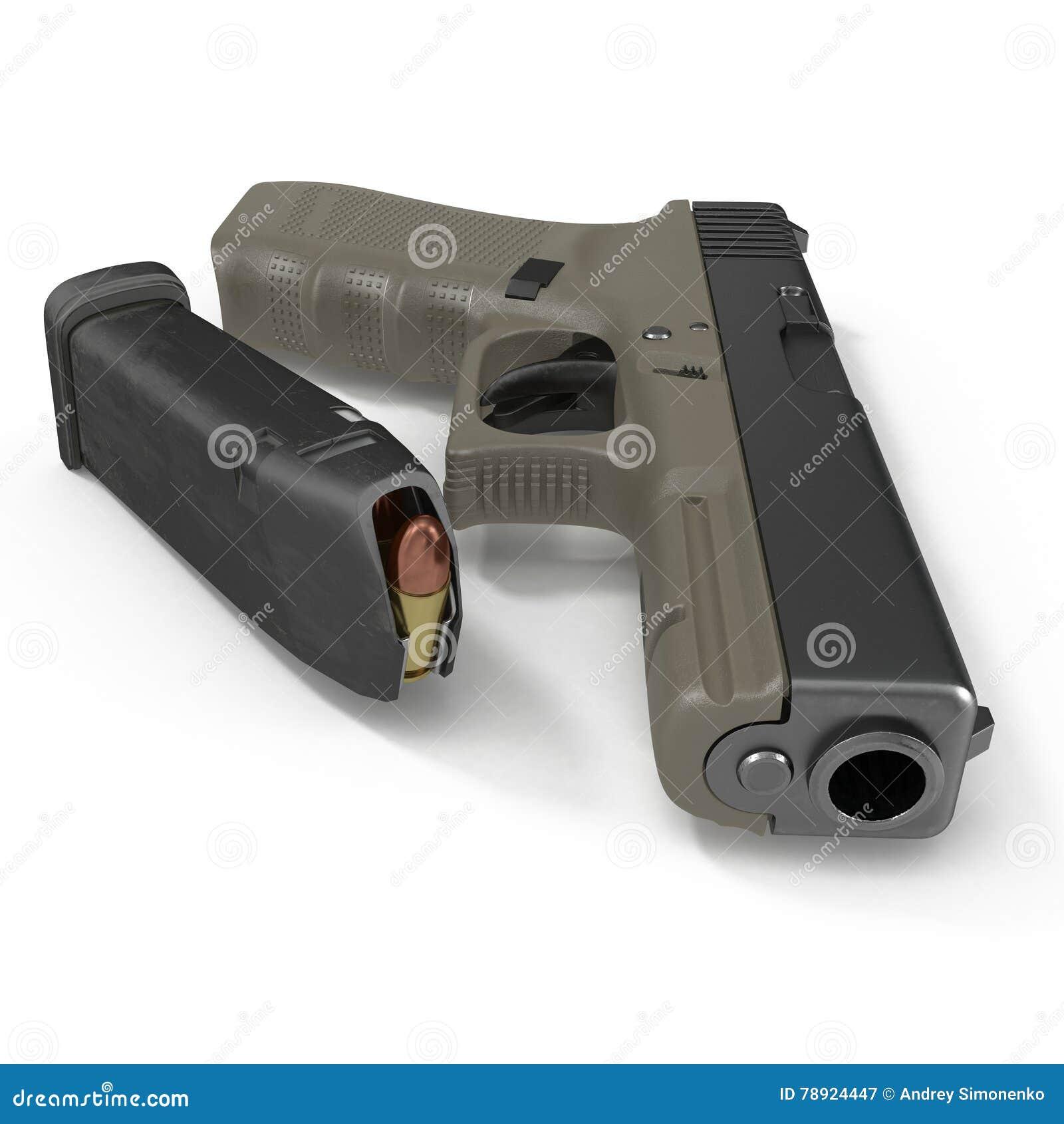 Ημι αυτόματο πιστόλι με το περιοδικό και πυρομαχικά σε ένα λευκό τρισδιάστατη απεικόνιση