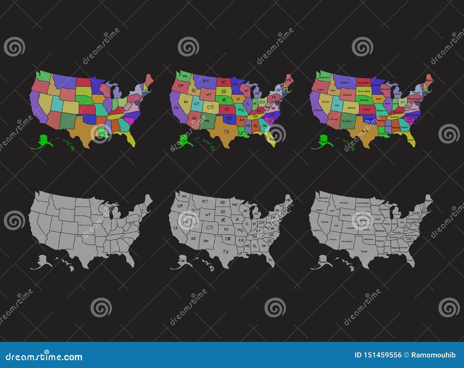 Ηνωμένος χάρτης, διαιρεμένοι οι ΗΠΑ χάρτης με το σχέδιο απεικόνισης ονομάτων