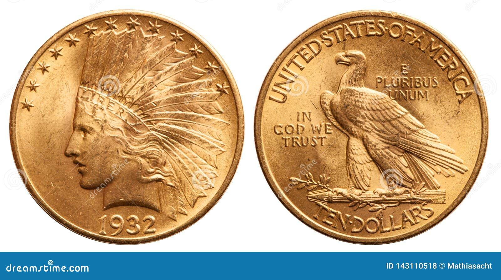 Ηνωμένο χρυσό νόμισμα ινδικός επικεφαλής τρύγος 1932 10 δολαρίων