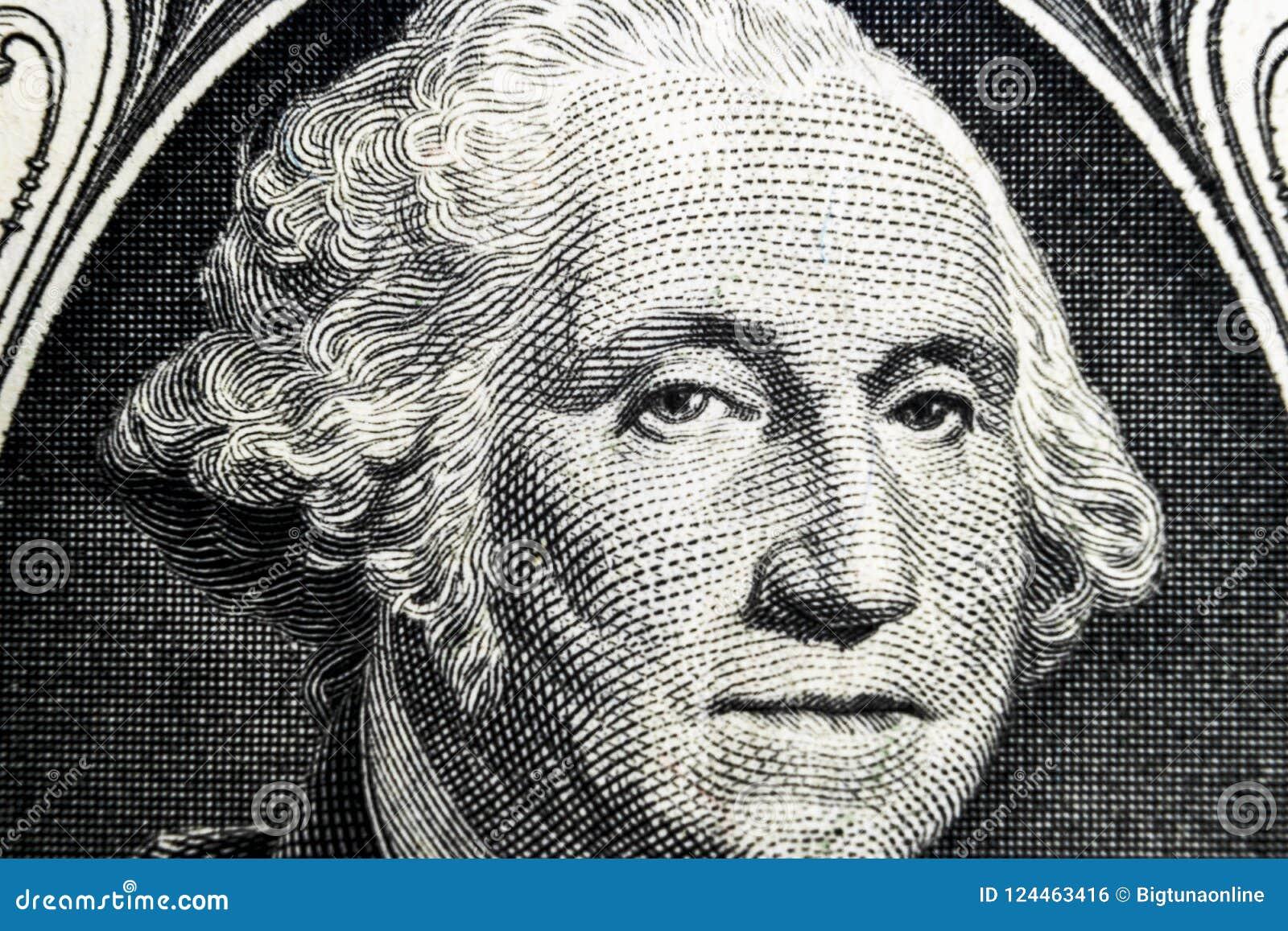 ΗΠΑ πορτρέτο προσώπου Προέδρου George Washington στις ΗΠΑ σημείωση ενός δολαρίου Μακρο πλάνο Υπόβαθρο των χρημάτων George Washing