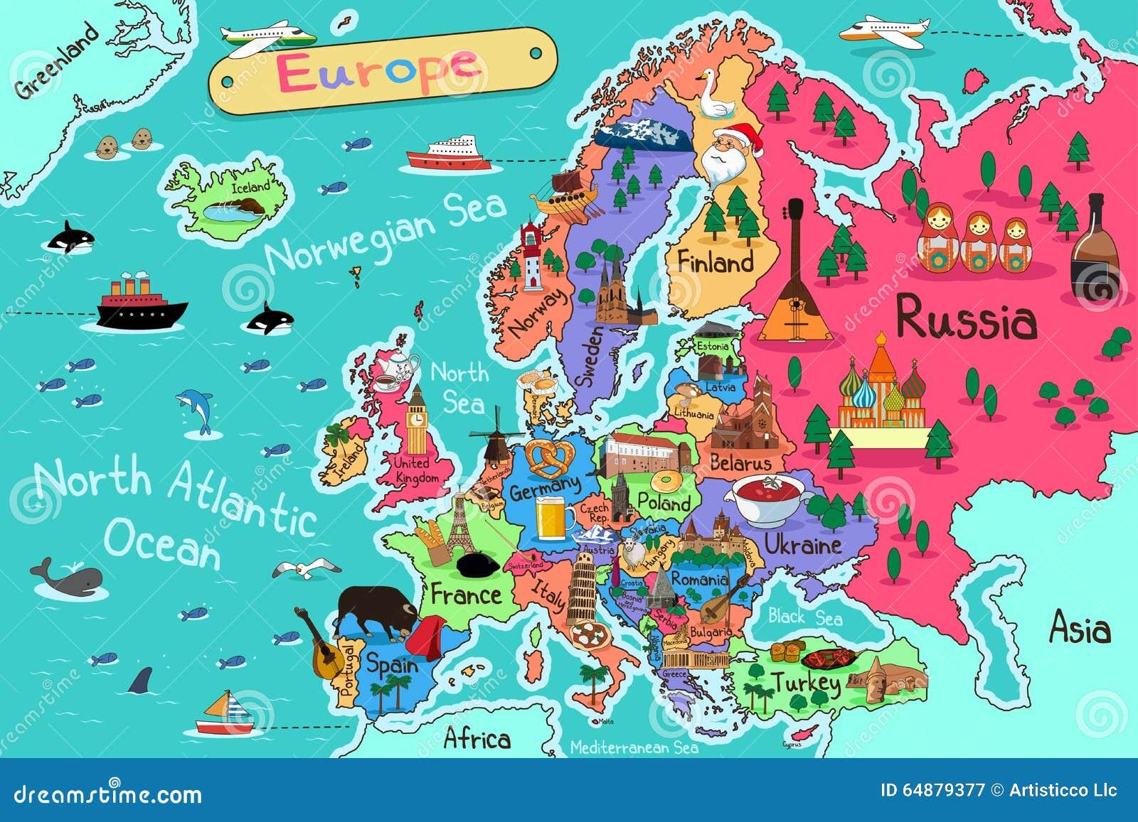 ηπειρωτικός χάρτης της Ευρώπης πολιτικός