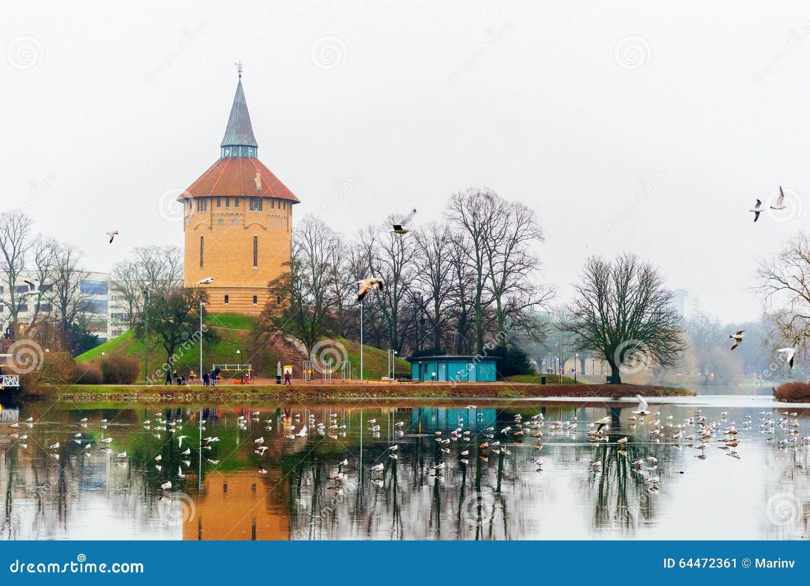 Ηρεμώντας σκηνές φύσης και χειμώνα γύρω από τη λίμνη στο κέντρο του Μάλμοε στη Σουηδία