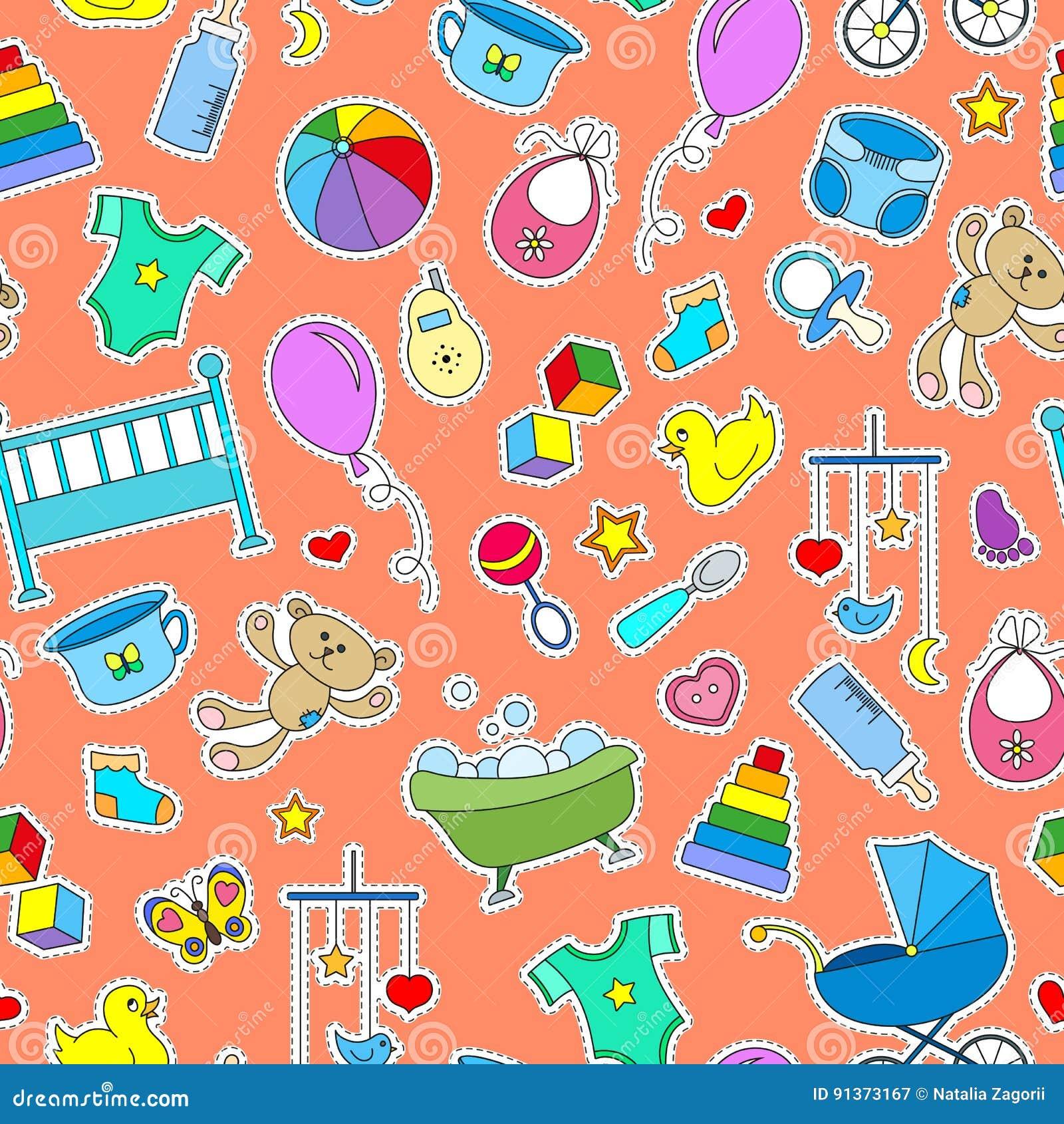 Η άνευ ραφής απεικόνιση στο θέμα της παιδικής ηλικίας και των νεογέννητων μωρών, των εξαρτημάτων μωρών και των παιχνιδιών, απλό χ
