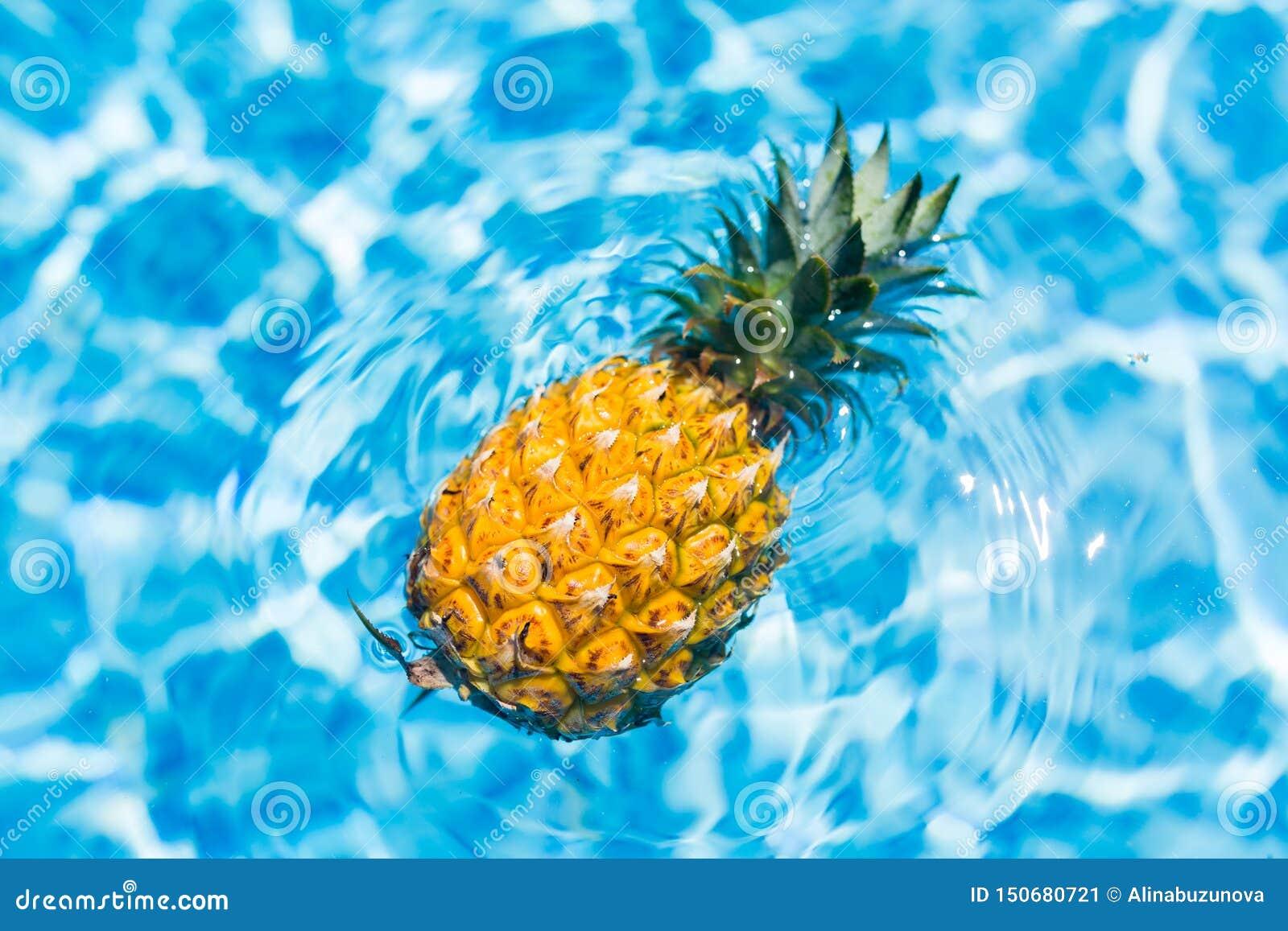 Η έννοια θερινών διακοπών, φρέσκος ανανάς κολυμπά στην πισίνα στο ξενοδοχείο Διακοπές, υγιής κατανάλωση, τροπική έννοια