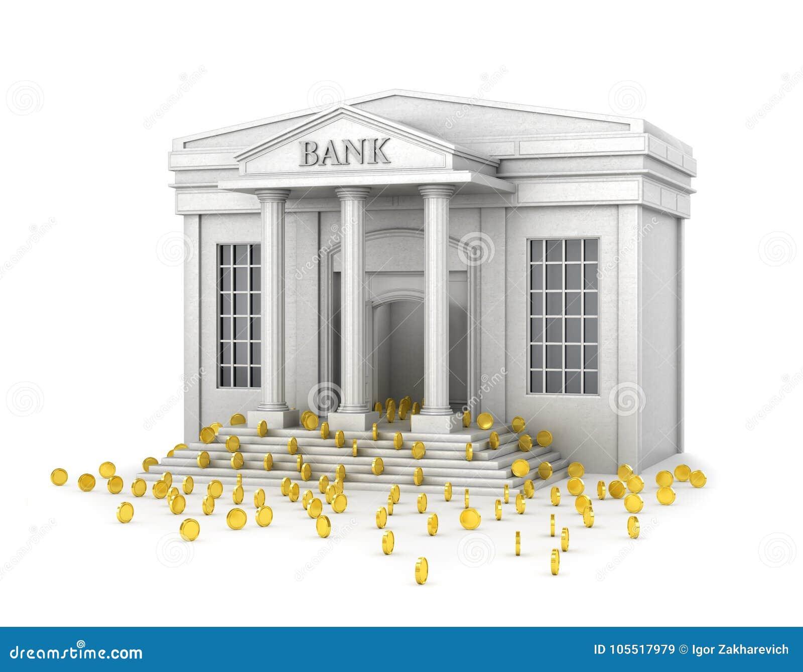 Η έννοια της αξιόπιστης αποταμίευσης Ένα κτήριο τραπεζών που γεμίζει με τα χρυσά νομίσματα