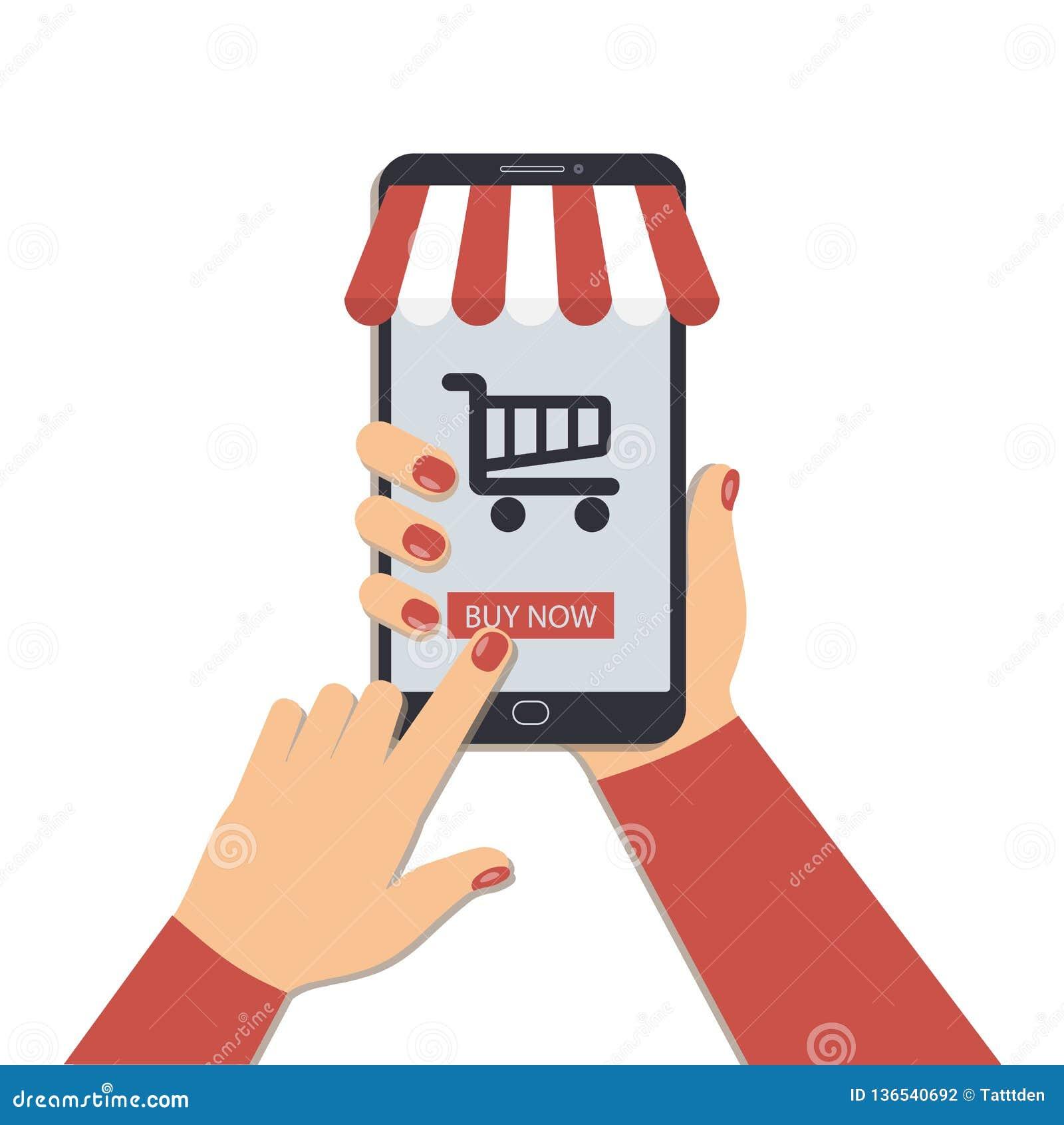 Η έννοια on-line να ψωνίσει χρησιμοποιώντας ένα κινητό τηλέφωνο