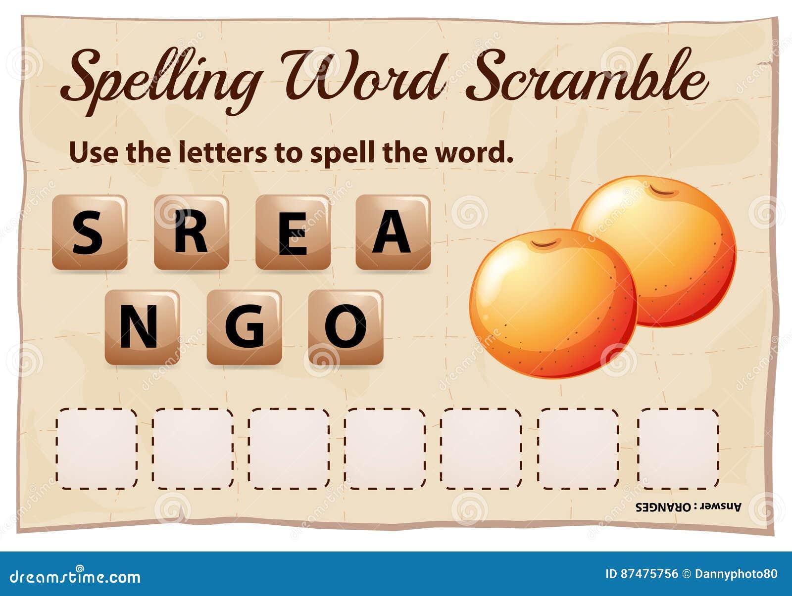 Η λέξη ορθογραφίας ανακατώνει το παιχνίδι με τα πορτοκάλια λέξης