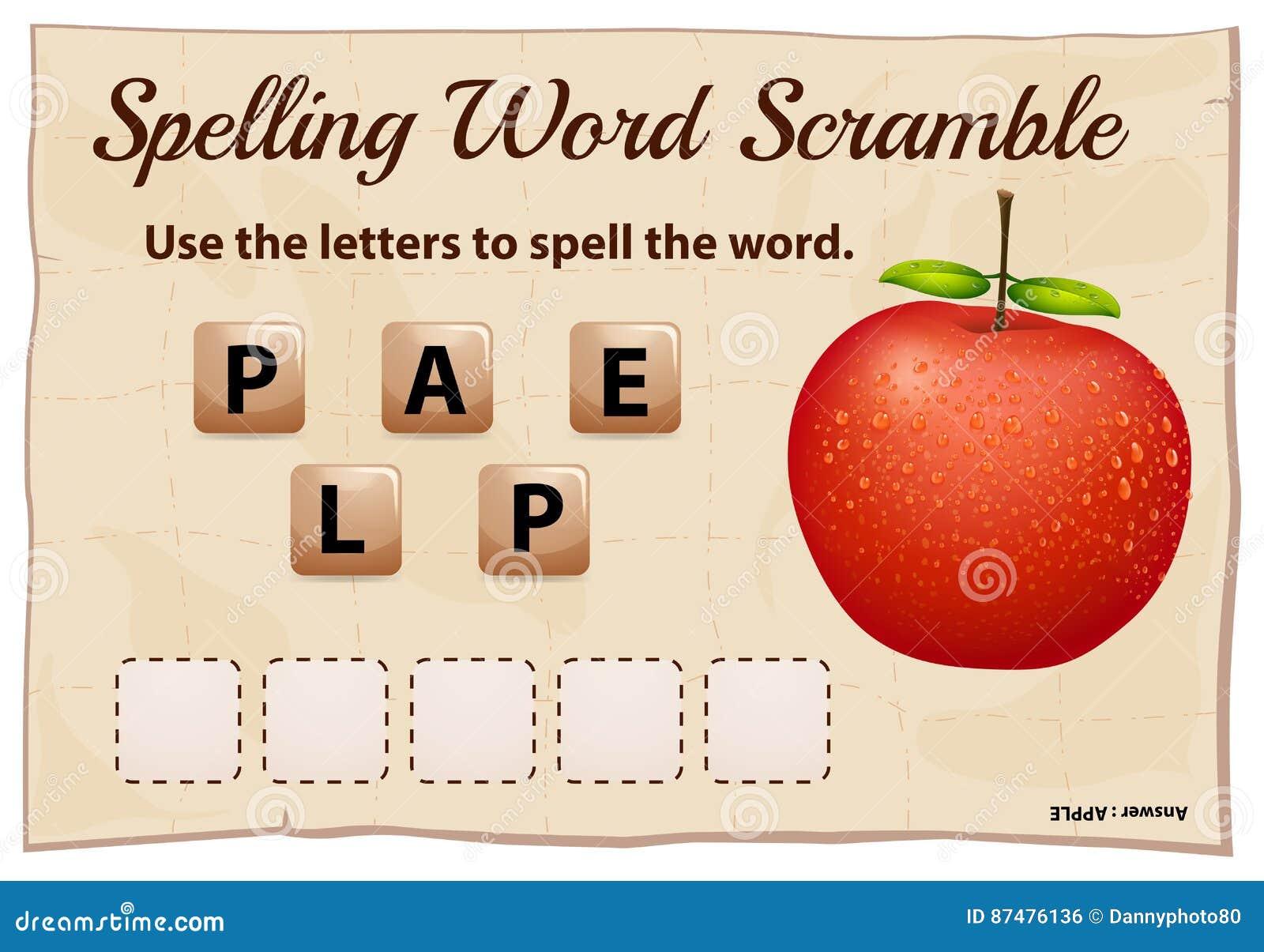 Η λέξη ορθογραφίας ανακατώνει το παιχνίδι με το μήλο λέξης