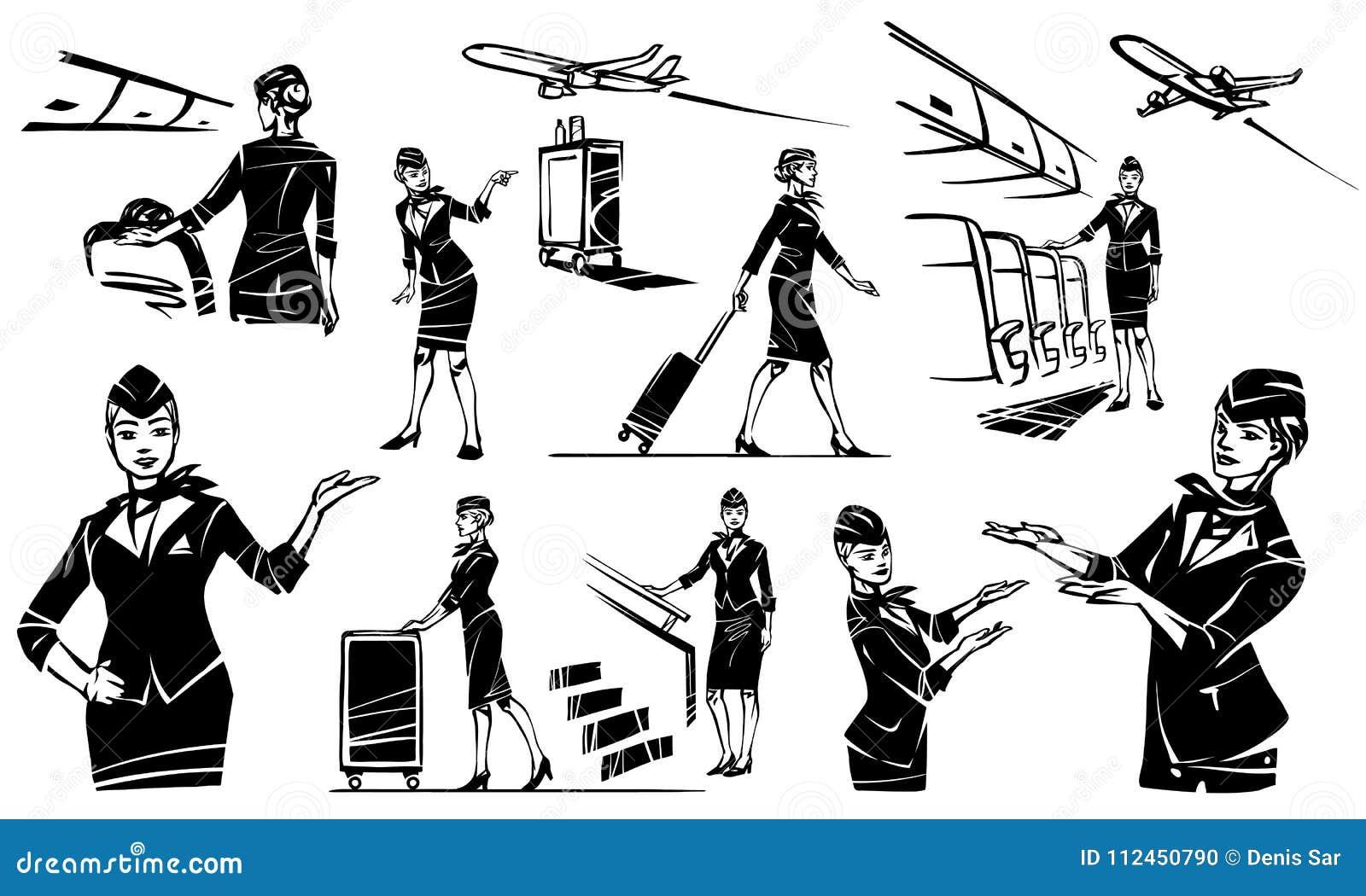 Η αεροσυνοδός πηγαίνει και κυλά τη βαλίτσα της Όμορφος αεροσυνοδός σε ένα αεροπλάνο
