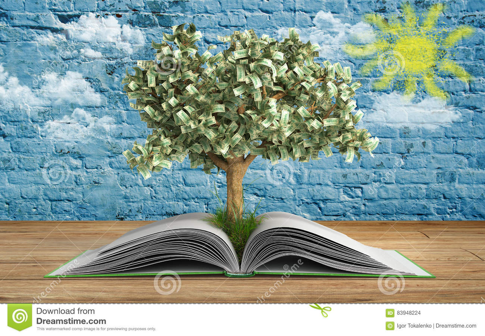 Η ανάπτυξη δέντρων από το μεγάλο ανοικτό βιβλίο βιβλίων Α με την ανάγνωση δέντρων κάνει το Υ