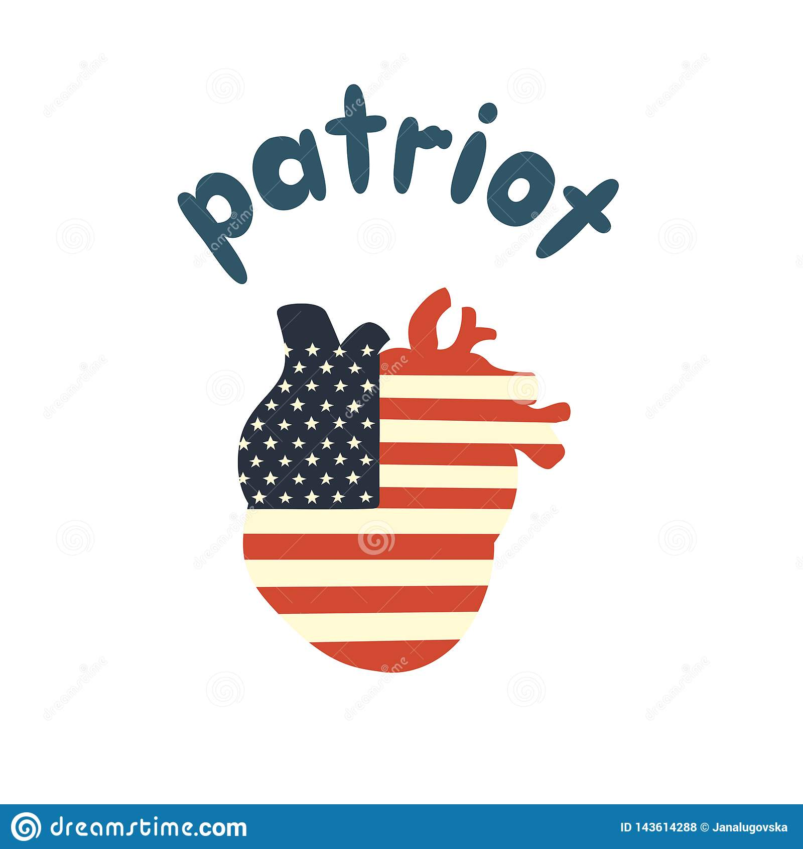 Η ανθρώπινη καρδιά είναι χρωματισμένη στα χρώματα της σημαίας των ΗΠΑ