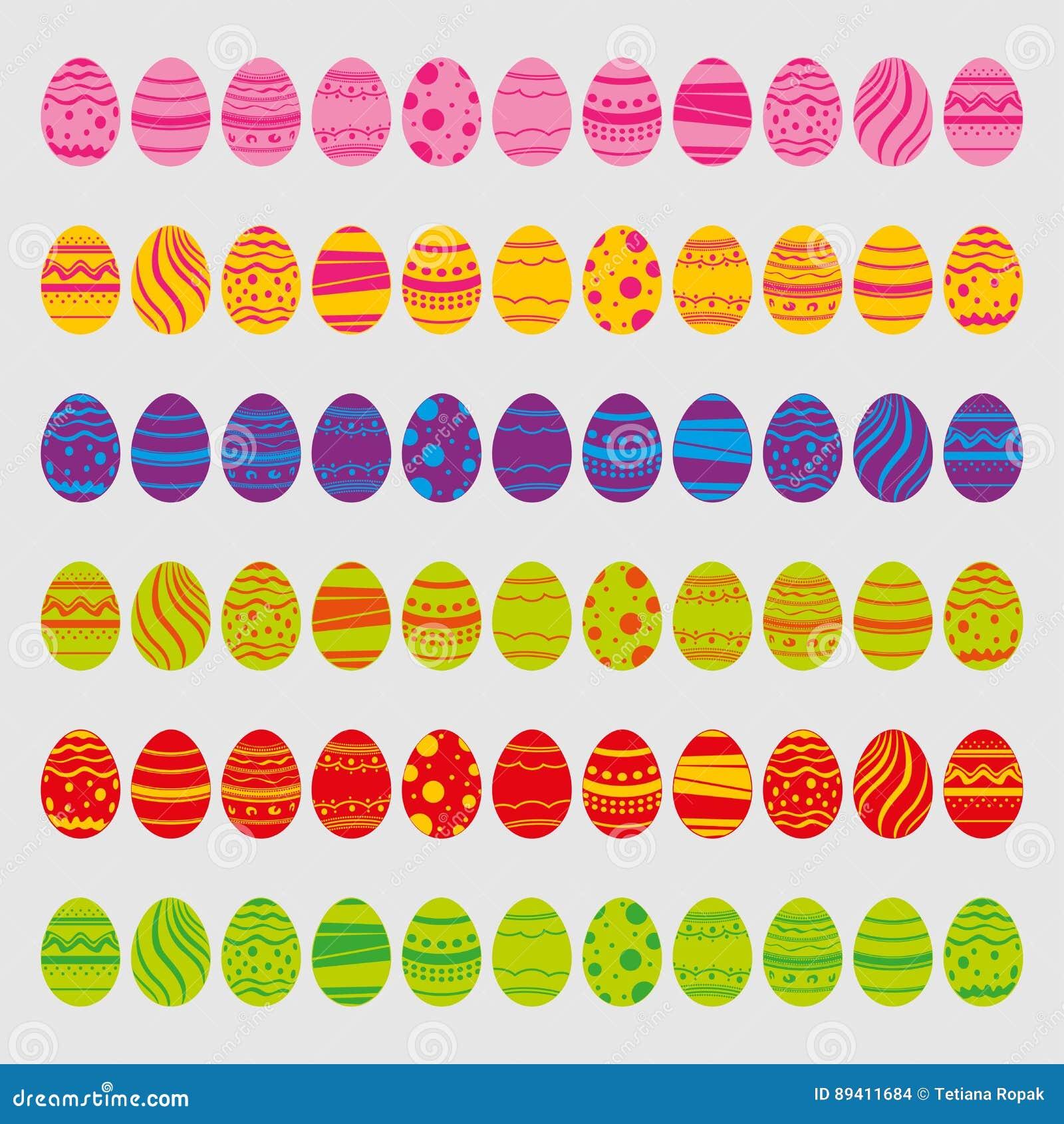 η απεικόνιση αυγών Πάσχας ανασκόπησης απομόνωσε το καθορισμένο διανυσματικό λευκό Εικονίδια στο επίπεδο ύφος με τα φωτεινά χρώματ