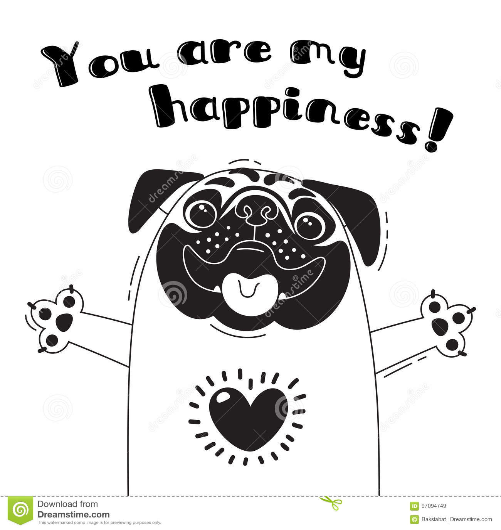 Η απεικόνιση με το χαρούμενο μαλαγμένο πηλό που λέει - εσείς είναι η ευτυχία μου Για το σχέδιο των αστείων ειδώλων, των ευπρόσδεκ