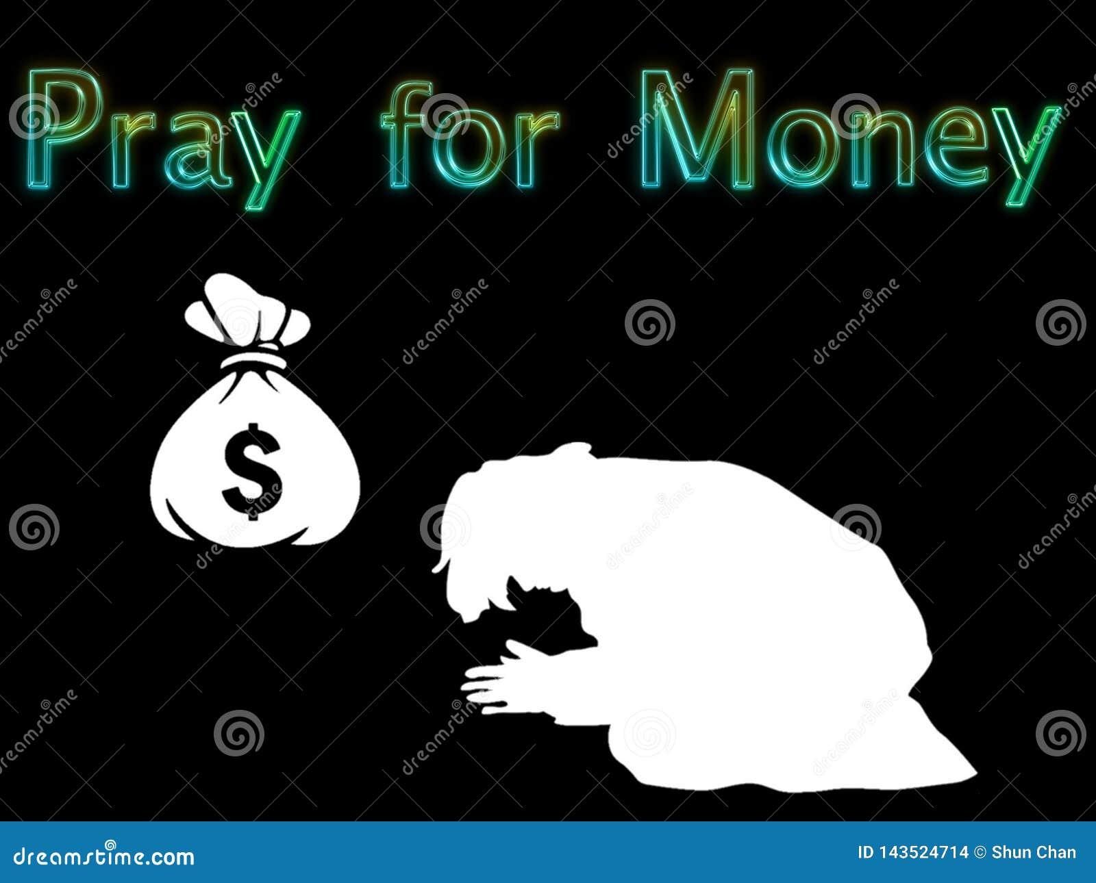 Η απεικόνιση προσεύχεται για τα χρήματα