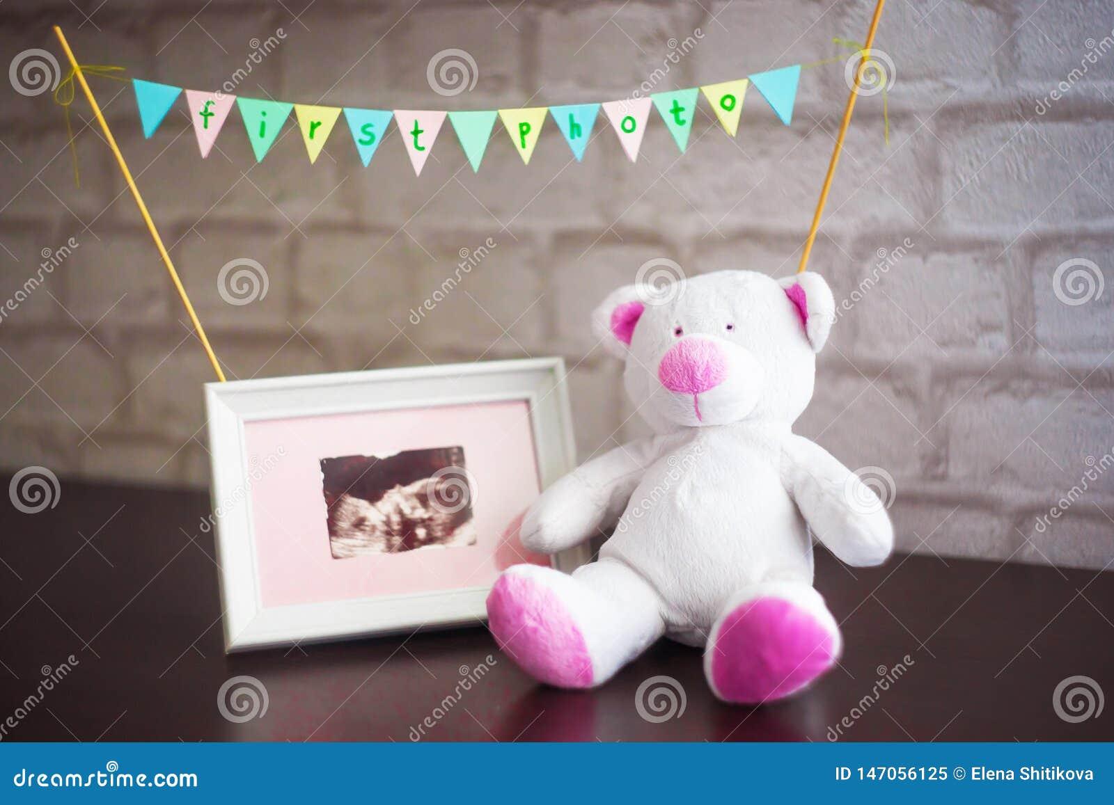 Η αρκούδα κάθεται δίπλα σε μια φωτογραφία του υπερήχου μωρών σε ένα υπόβαθρο τουβλότοιχος