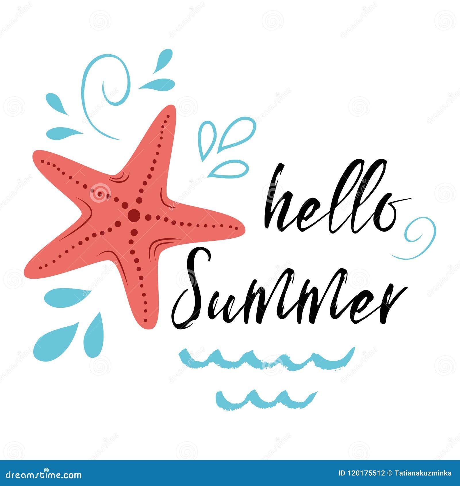 Η αφίσα θάλασσας με τα ψάρια αστεριών θάλασσας διατυπώνει γειά σου το καλοκαίρι, κύμα, seastar διανυσματικό τυπογραφικό εμπνευσμέ