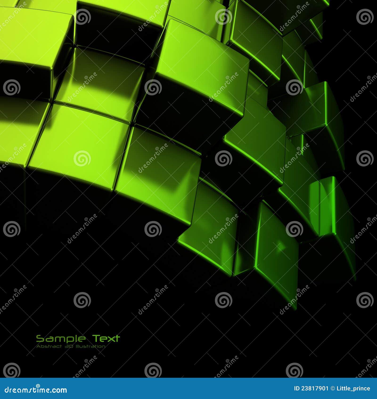 η αφηρημένη ανασκόπηση κυβίζει το πράσινο μέταλλο