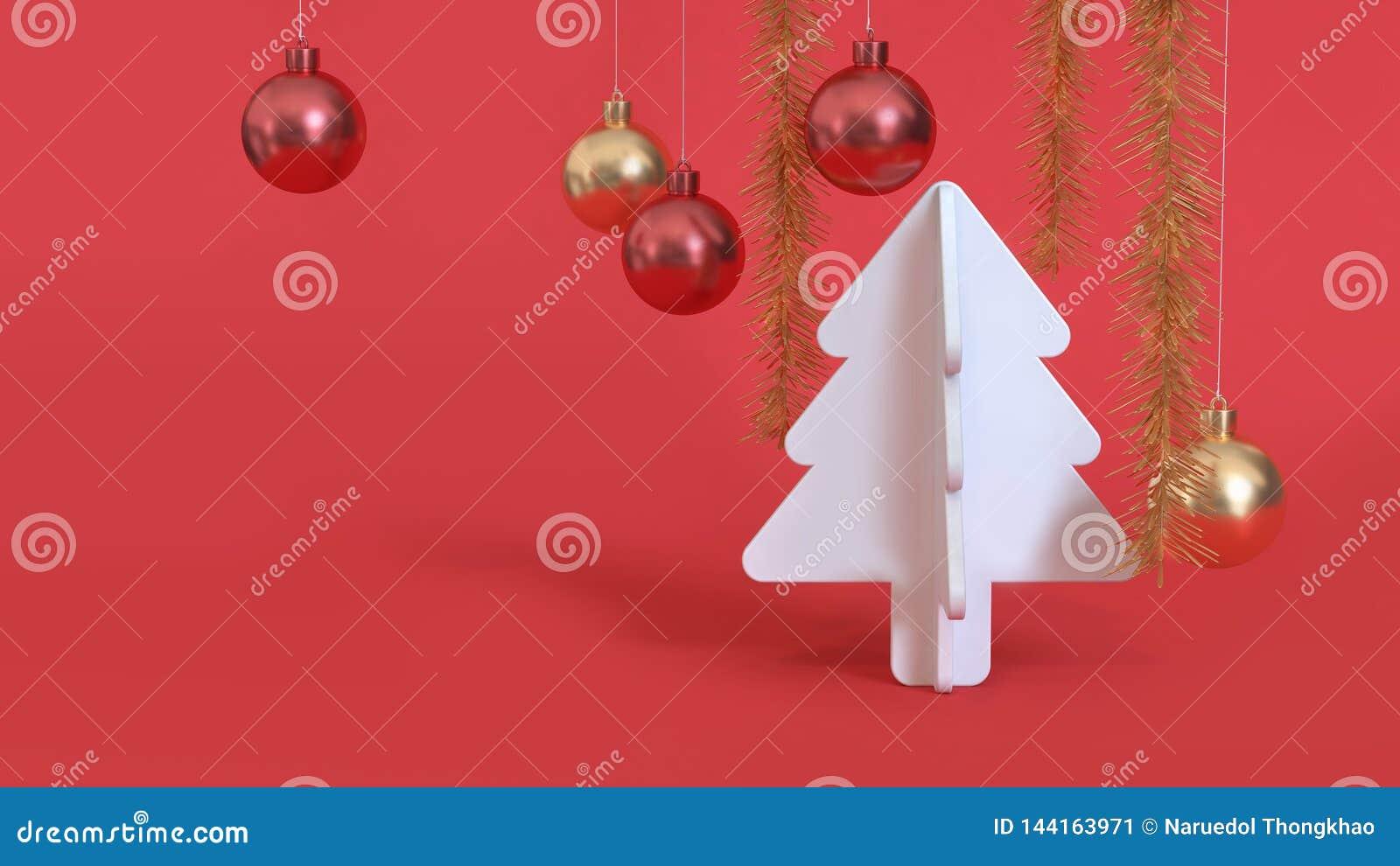 Η αφηρημένη Χριστουγέννων κόκκινη μεταλλική κόκκινη χρυσή σφαίρα χριστουγεννιάτικων δέντρων υποβάθρου άσπρη τρισδιάστατη δίνει, ν