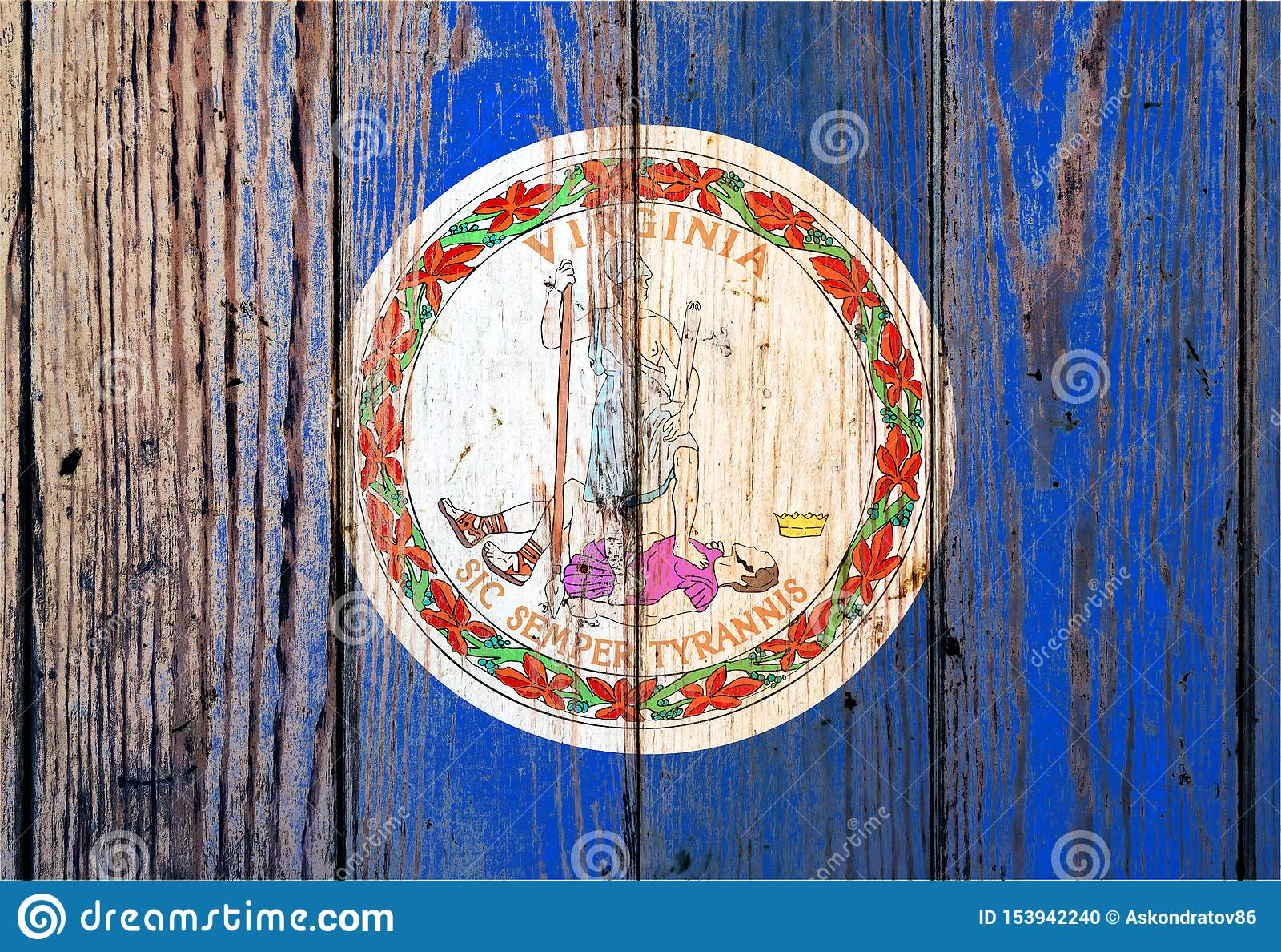 Η Βιρτζίνια ΗΠΑ δηλώνει τη εθνική σημαία σε ένα γκρίζο ξύλινο υπόβαθρο πινάκων την ημέρα της ανεξαρτησίας στα διαφορετικά χρώματα