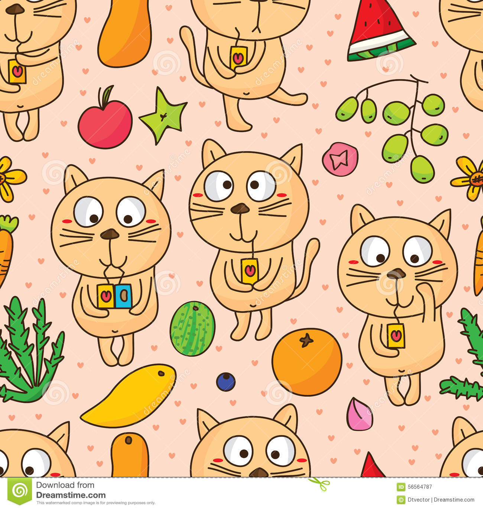 Download Η γάτα χαριτωμένη πίνει το άνευ ραφής σχέδιο φρούτων Διανυσματική απεικόνιση - εικονογραφία από βακκινίων, χαριτωμένος: 56564787