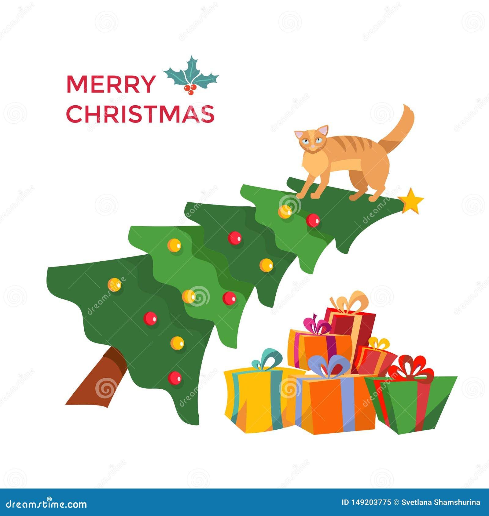 Η γάτα climbes στο χριστουγεννιάτικο δέντρο και κάθεται σε το Επιγραφή χαιρετισμού που διακοσμείται με το γκι ελαιόπρινου Χριστου
