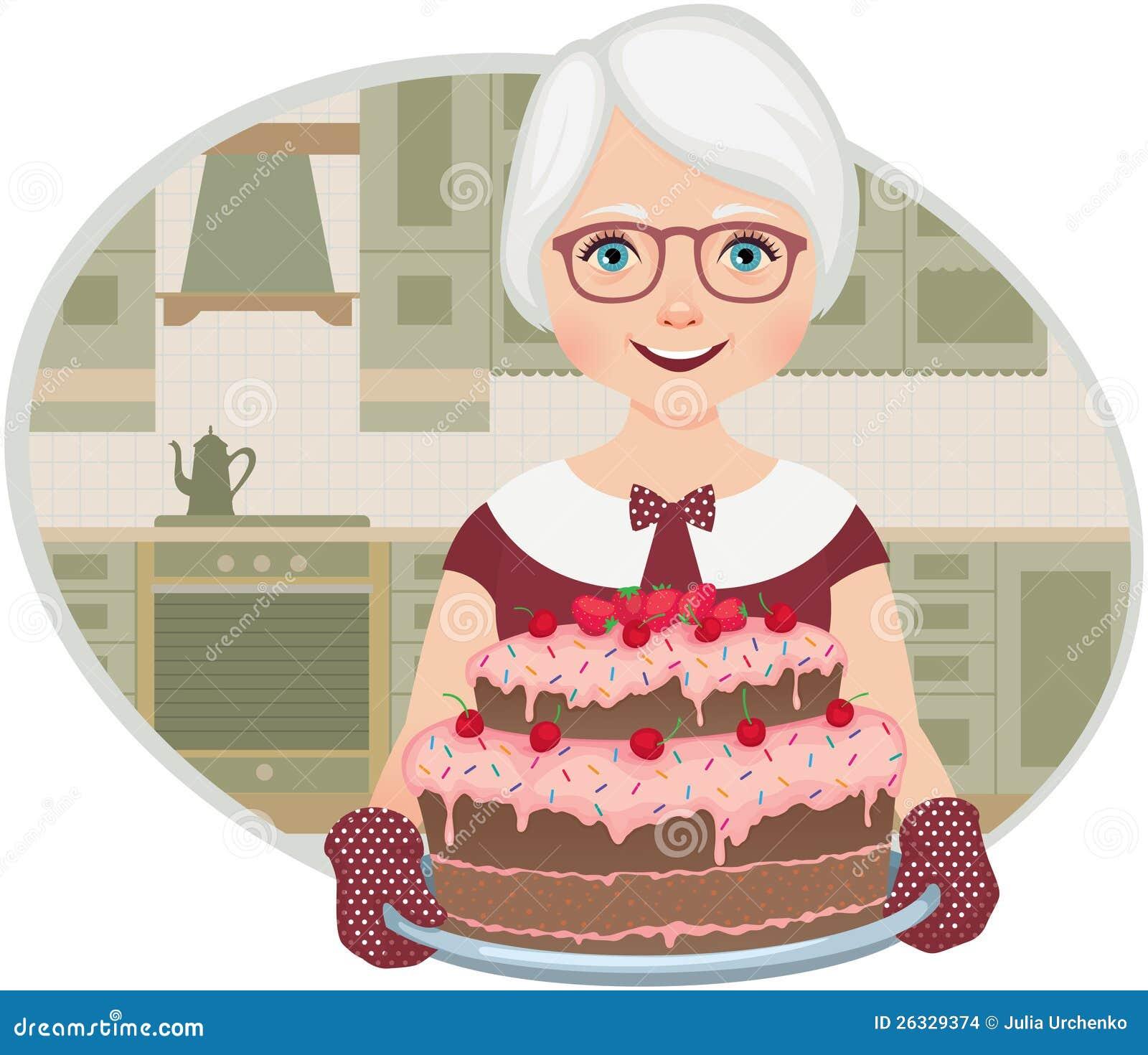Η γιαγιά έψησε ένα κέικ