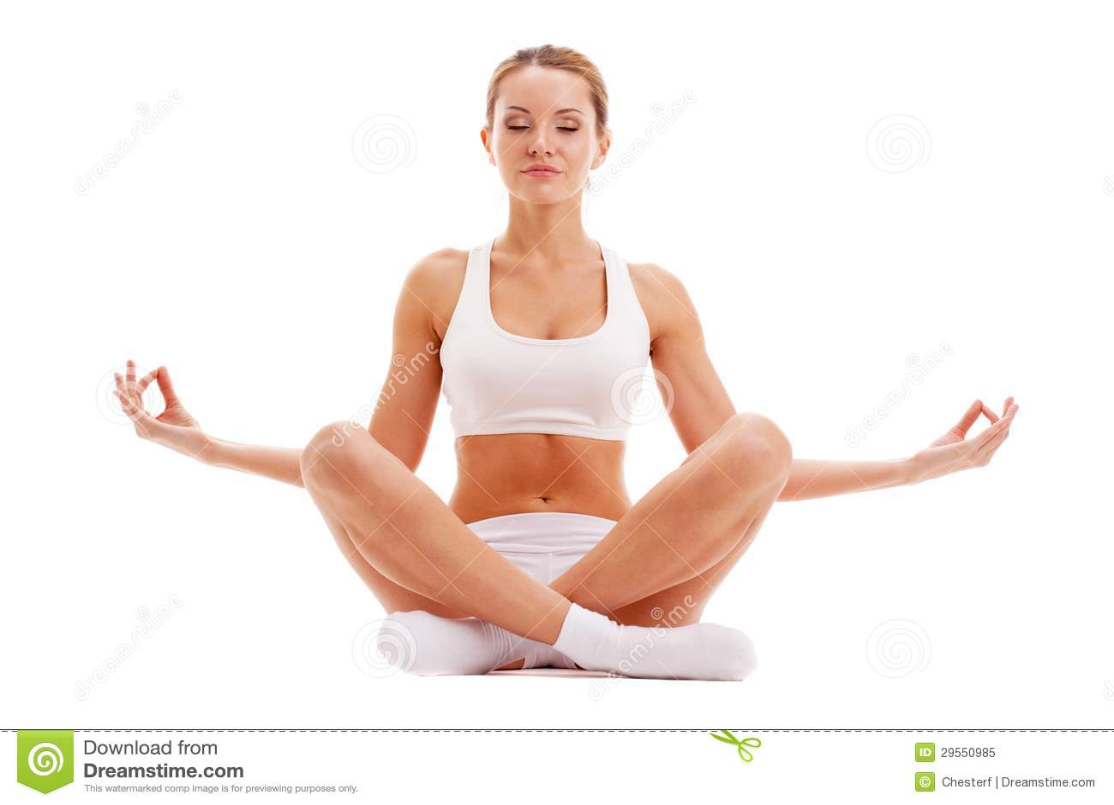 Η γιόγκα άσκησης γυναικών στο λωτό θέτει