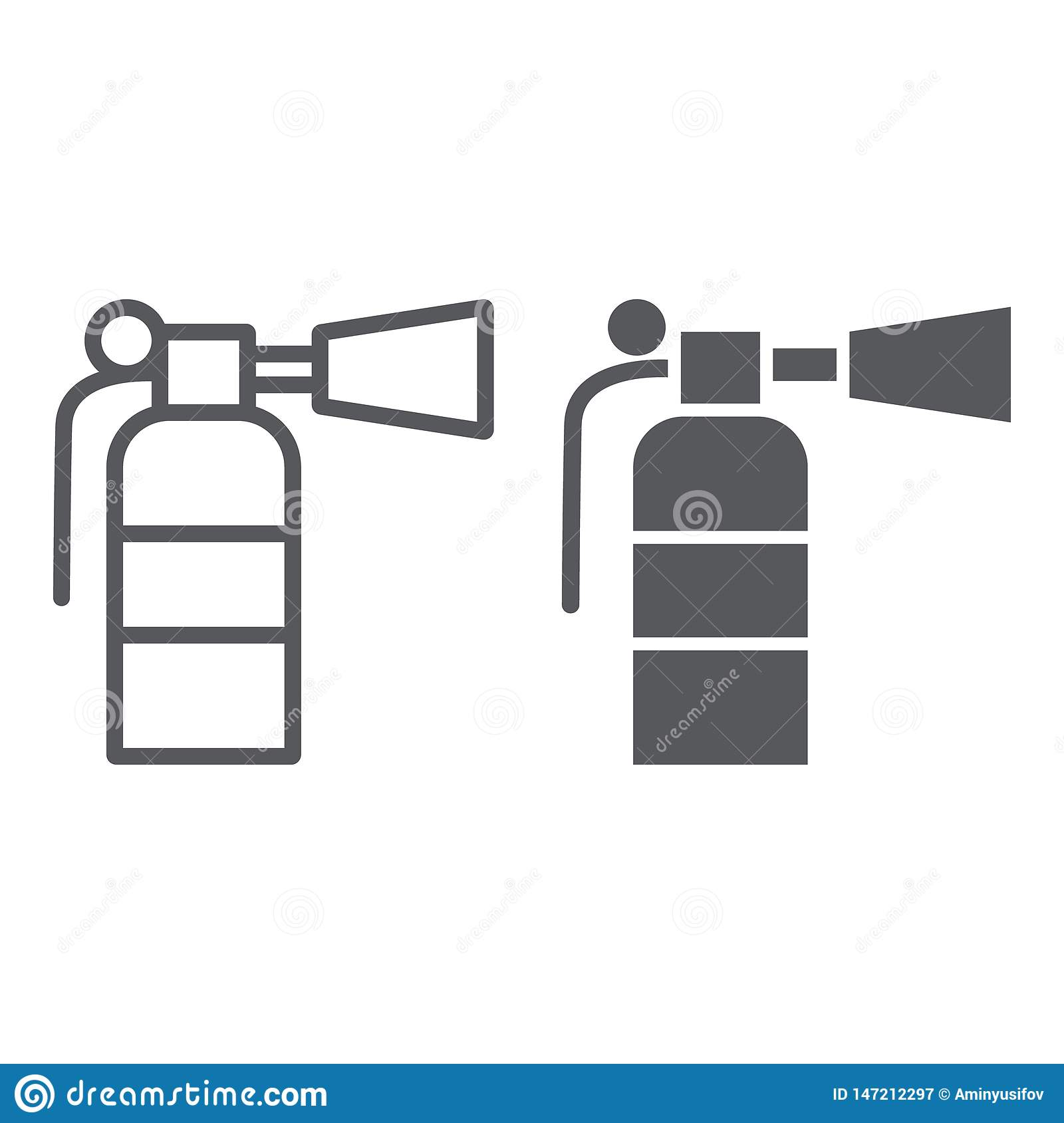 Η γραμμή πυροσβεστήρων και glyph το εικονίδιο, έκτακτη ανάγκη και πυροσβεστικός, εξαφανίζουν το σημάδι, διανυσματική γραφική παρά