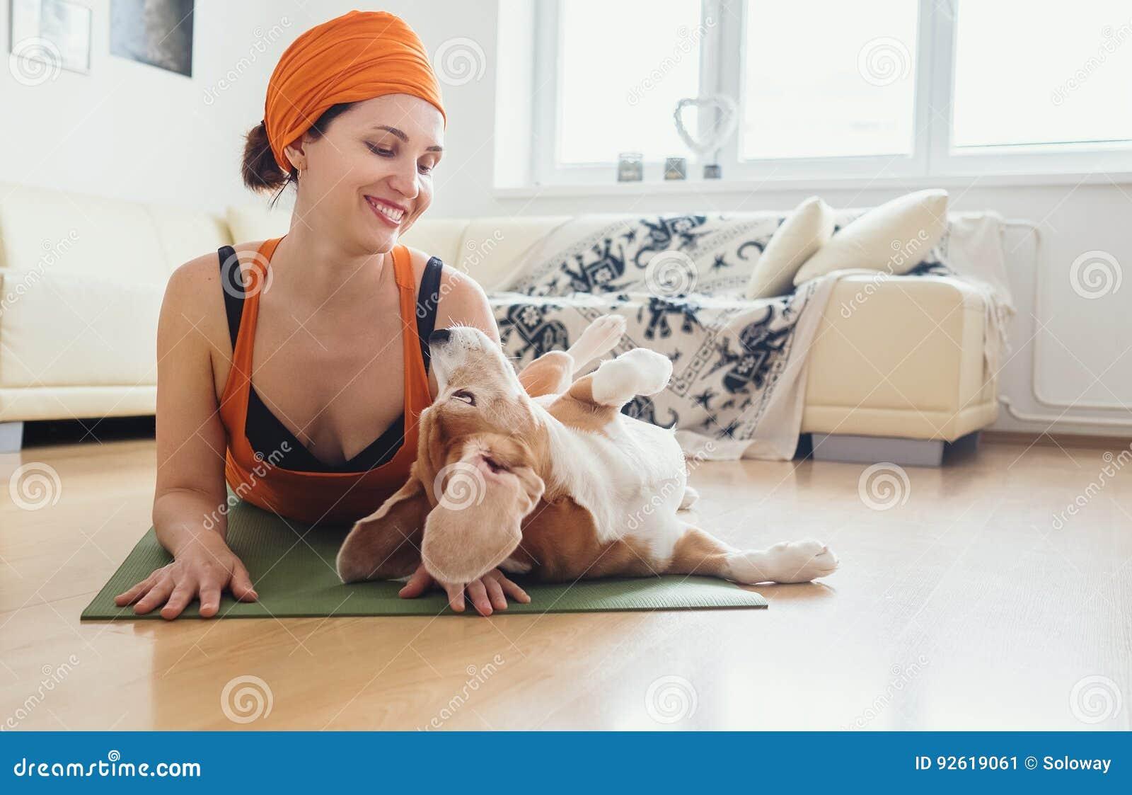 Η γυναίκα έχει την πρακτική γιόγκας στο σπίτι αλλά το σκυλί προσπαθεί να παίξει με την