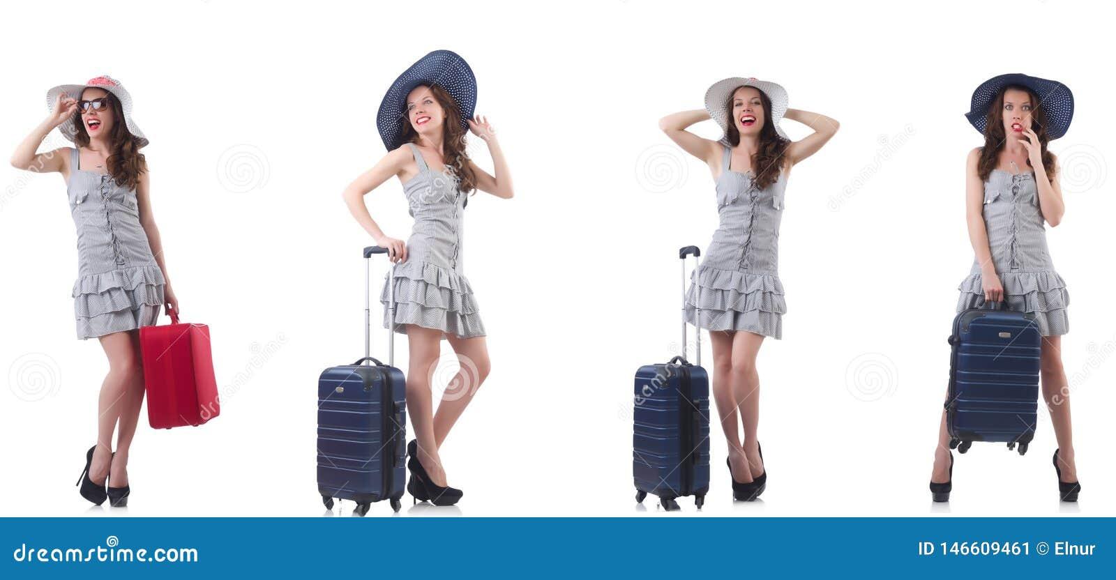 Η γυναίκα με τη βαλίτσα που απομονώνεται στο λευκό