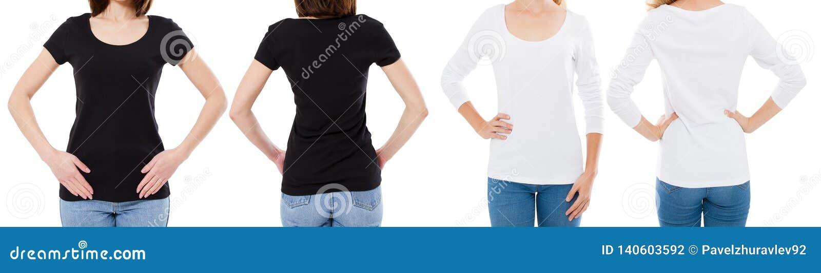 Η γυναίκα στην άσπρη και μαύρη μπλούζα απομόνωσε μπροστινό και πίσω μέρος καλλιεργημένες τις απόψεις επιλογές μπλουζών εικόνας κε