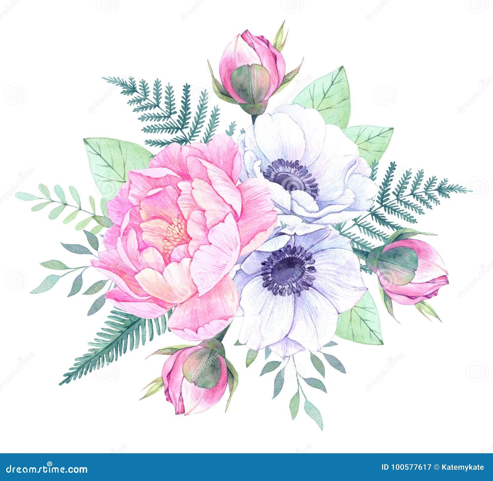η διακοσμητική εικόνα απεικόνισης πετάγματος ραμφών το κομμάτι εγγράφου της καταπίνει το watercolor Κάδος με τα Floral στοιχεία W