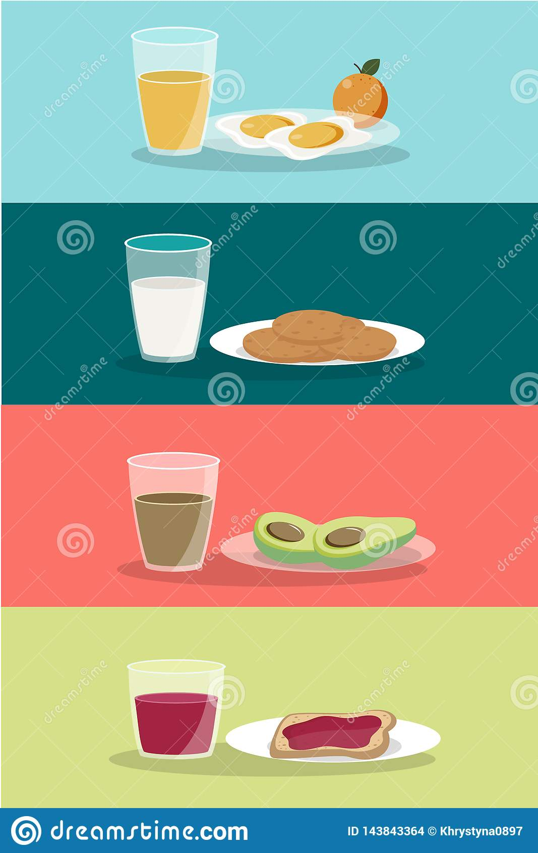 Η διανυσματική έννοια προγευμάτων έθεσε με τα τρόφιμα και τα ποτά με τα επίπεδα εικονίδια στη σύνθεση Σάντουιτς και ομελέτα σύνθε